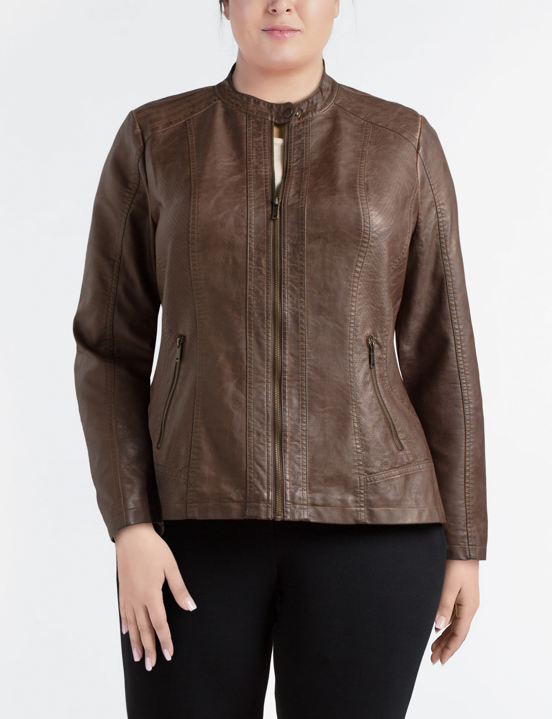 Valerie Stevens Medium Brown Bomber & Moto Jackets