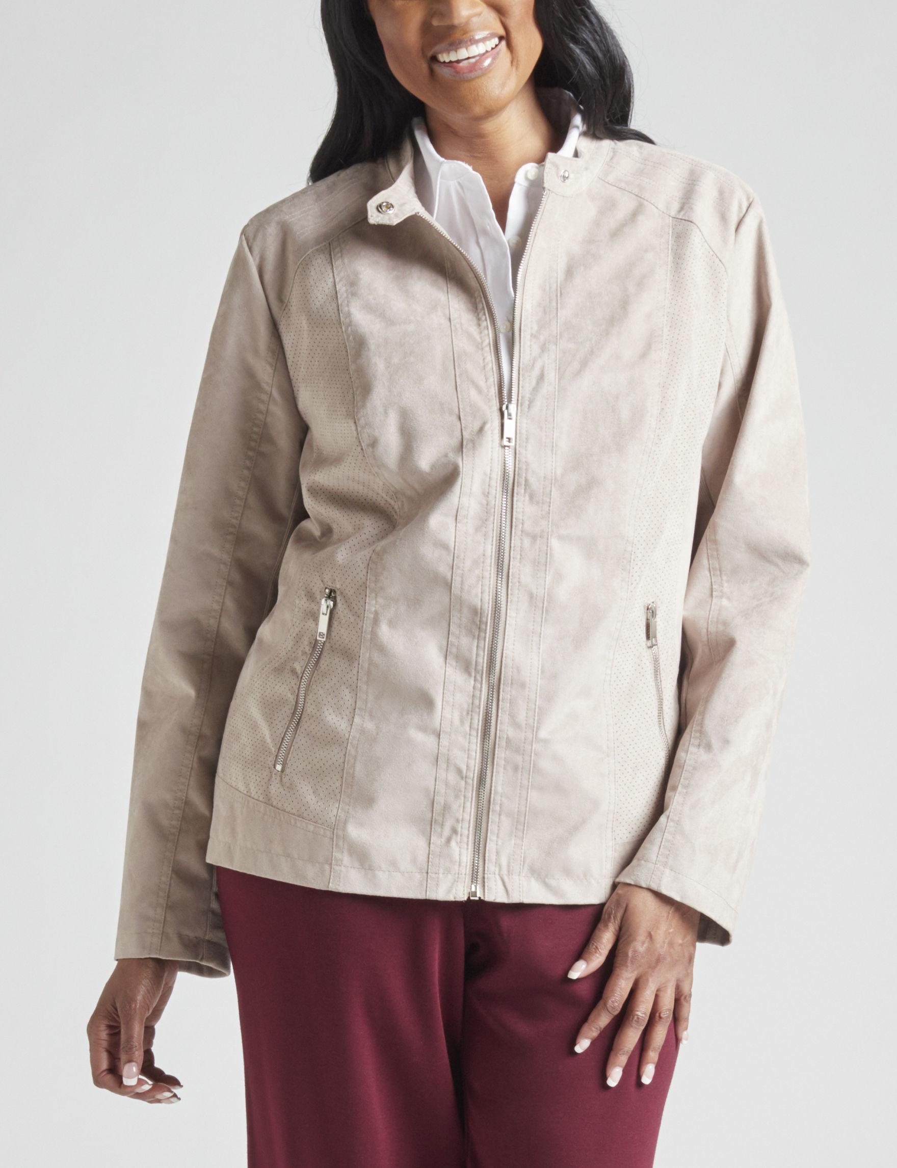 Valerie Stevens Taupe Lightweight Jackets & Blazers