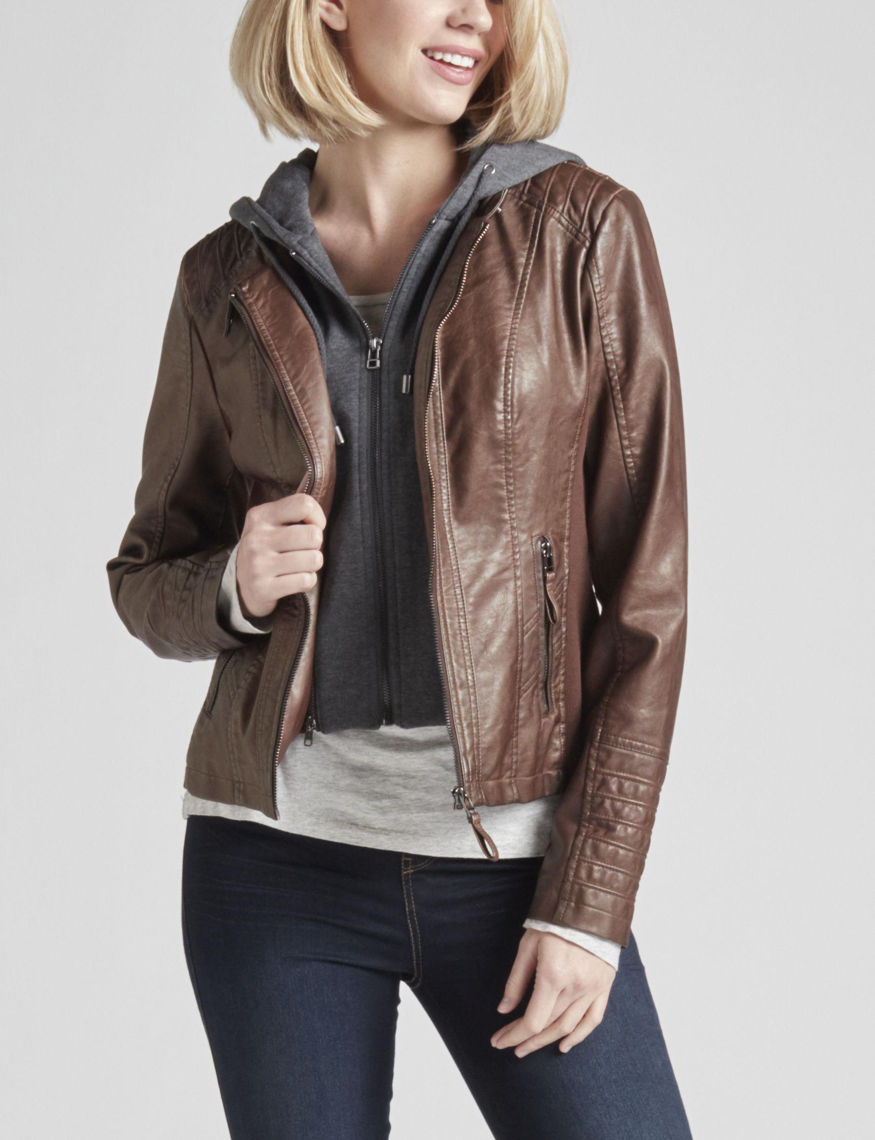 Signature Studio Medium Brown Bomber & Moto Jackets