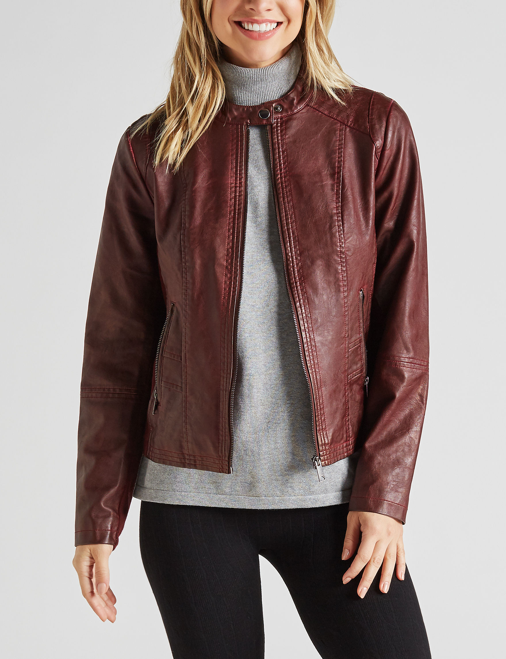 Sebby Collection Red Bomber & Moto Jackets