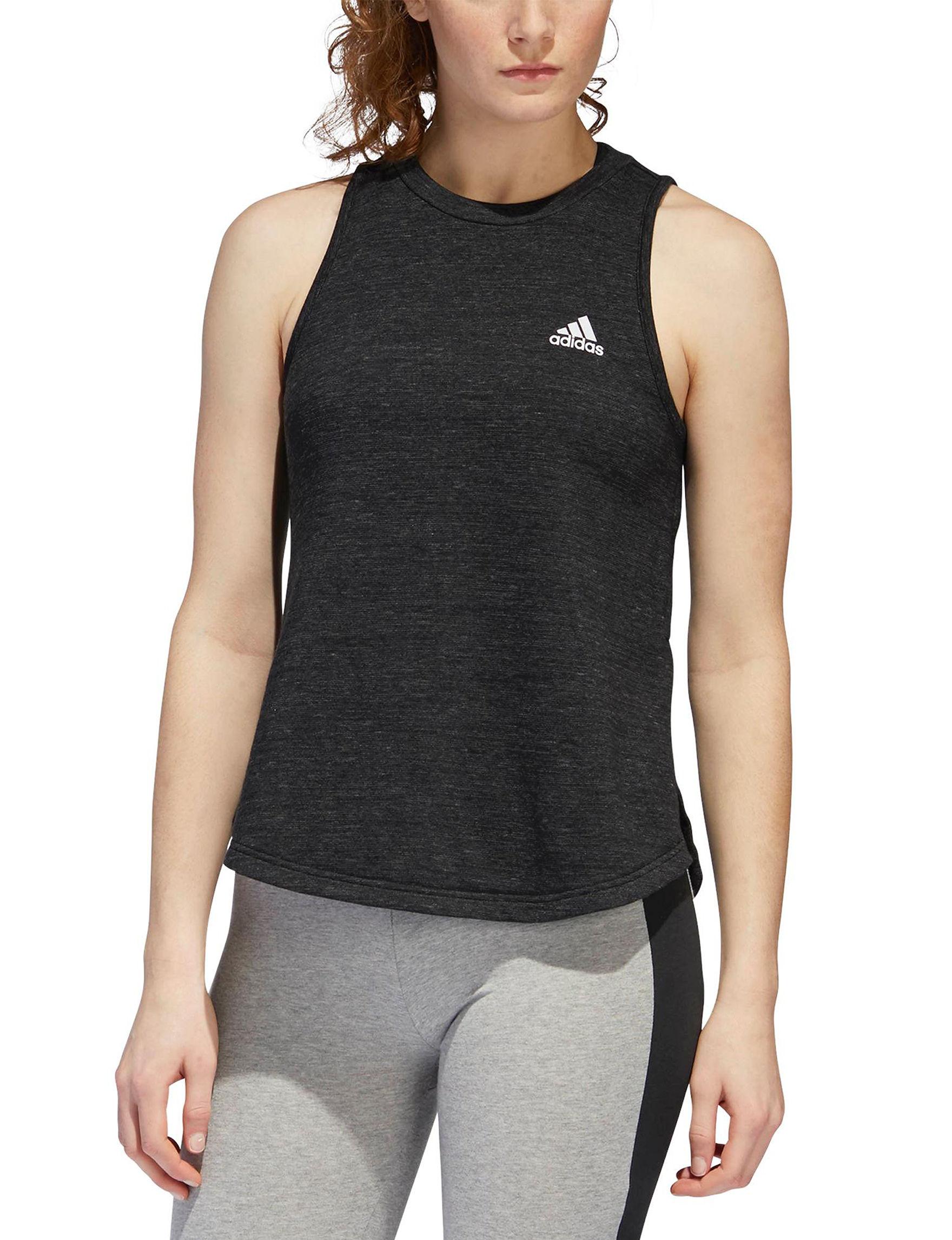 Adidas Black Heather Tees & Tanks