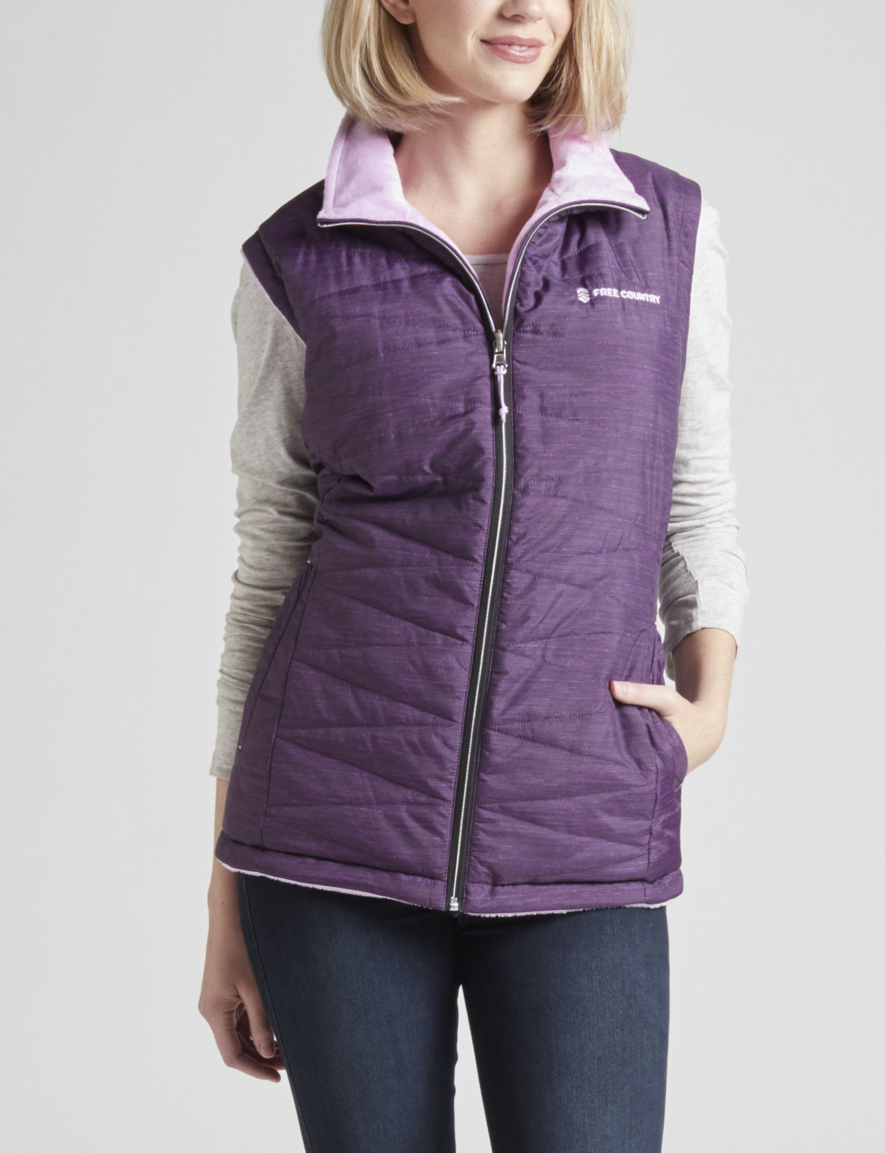 Free Country Purple Puffer & Quilted Jackets