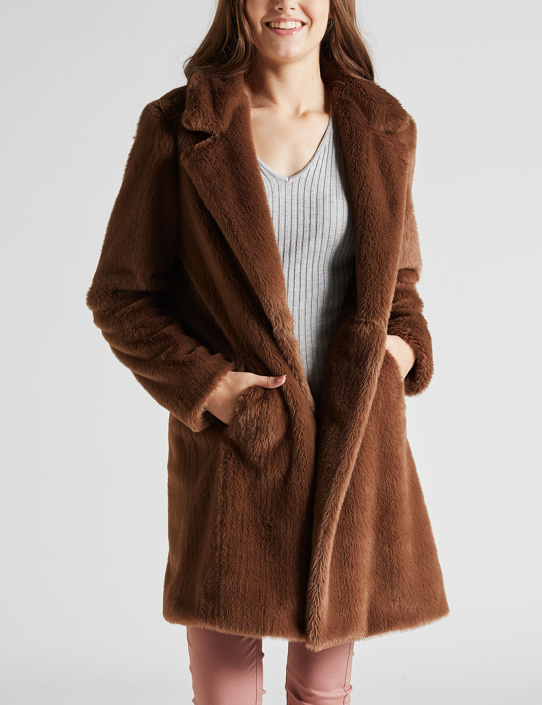 Sebby Collection Brown Peacoats & Overcoats