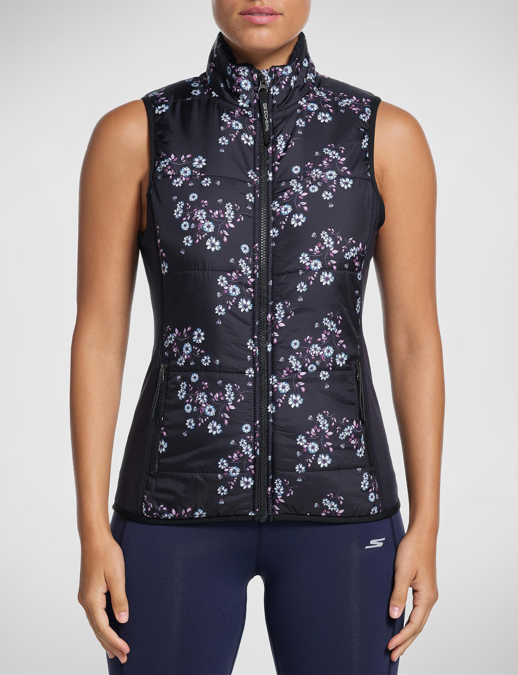 Skechers Black Floral Vests