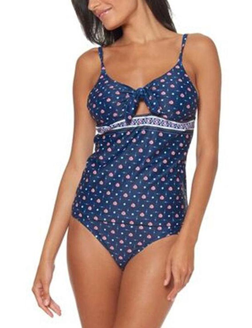 Jessica Simpson Navy Swimsuit Tops Tankini