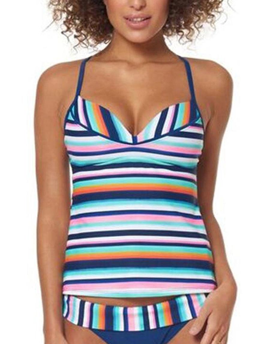 Skechers Blue Stripe Swimsuit Tops Tankini