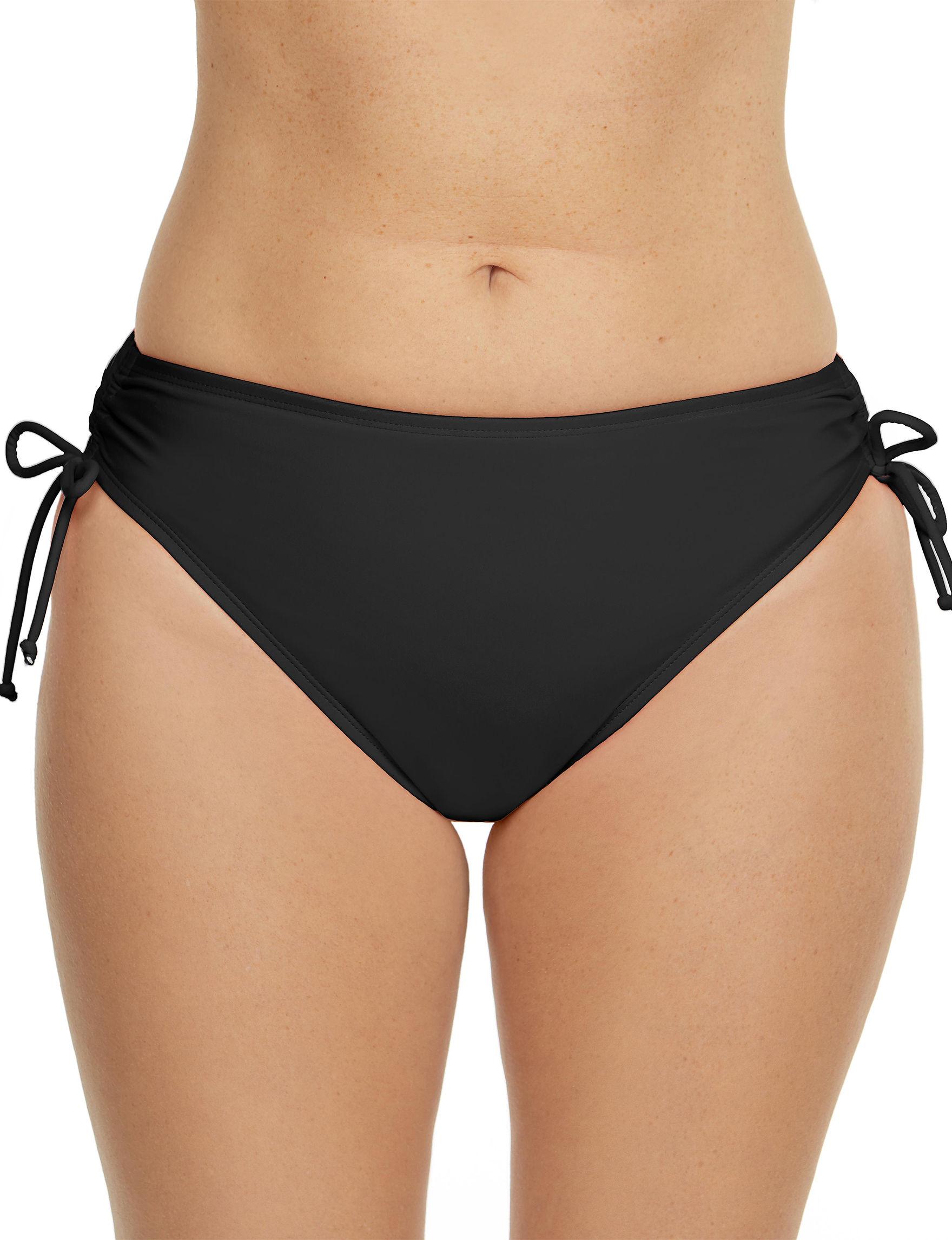 Beach Diva Black Swimsuit Bottoms Bikini High Waist