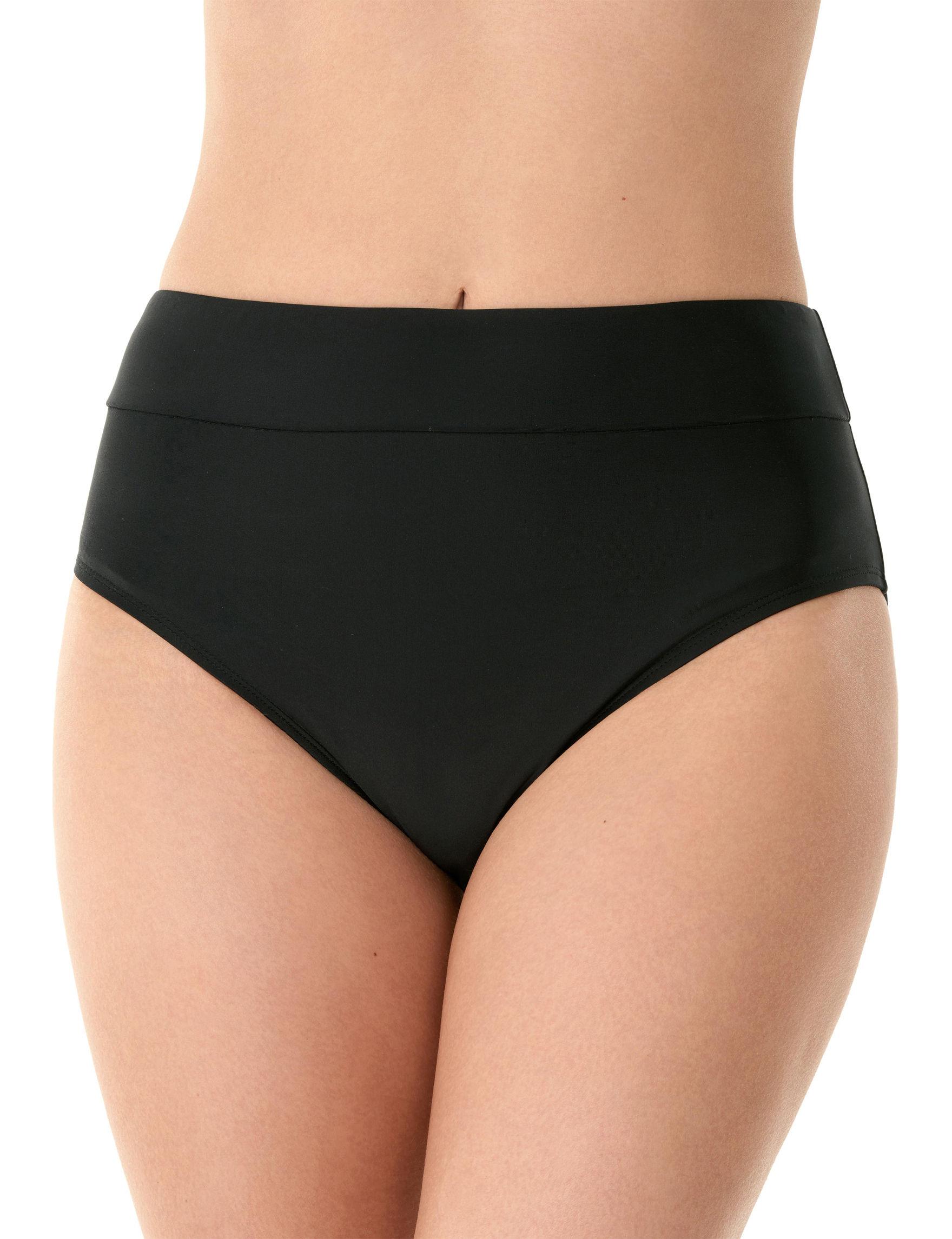 Caribbean Joe Black Swimsuit Bottoms Bikini High Waist