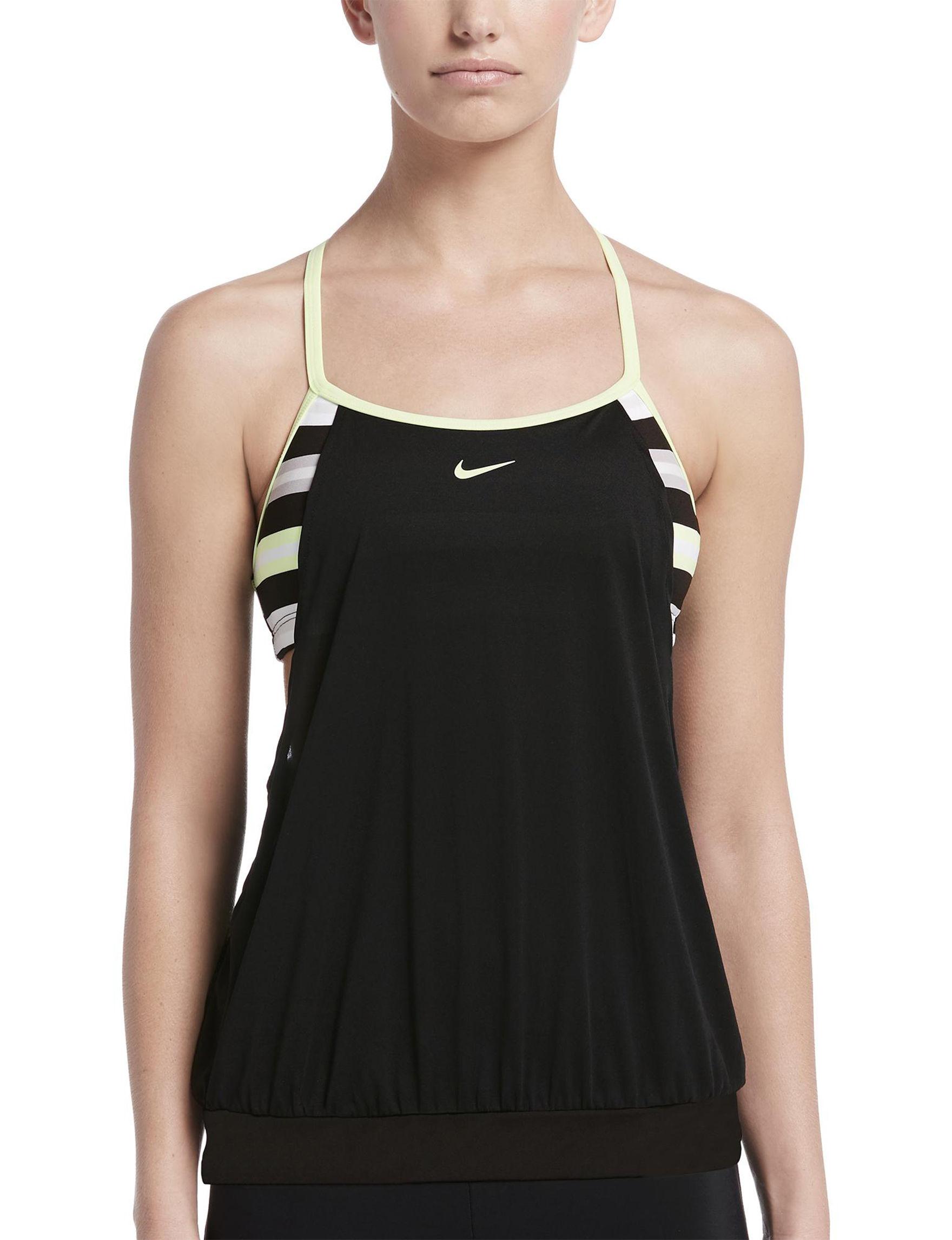 ceac5c145b990 Nike Women's Sport Striped Layered Sport Medium Impact Tankini Swim Top