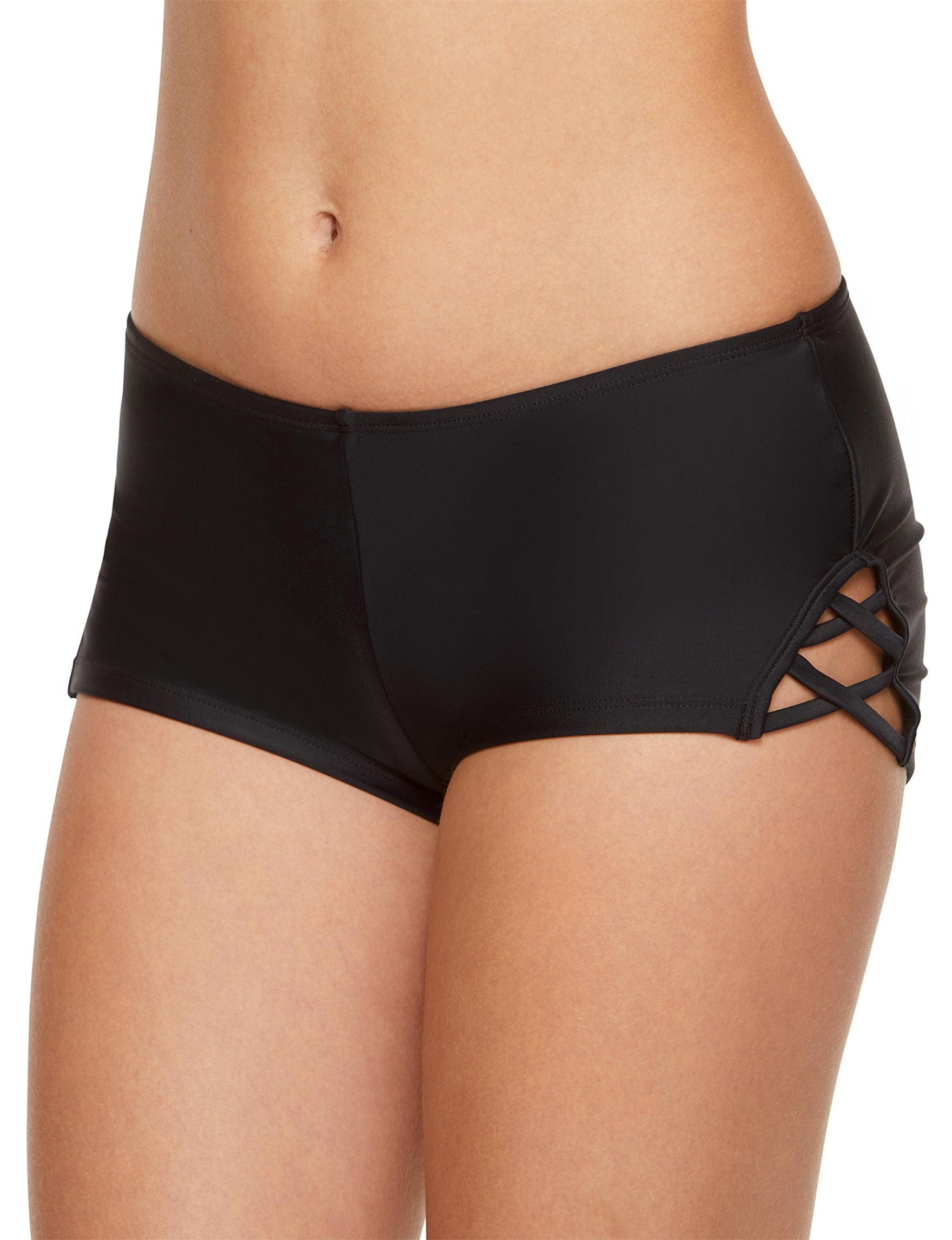 Polka Dot Black Swimsuit Bottoms Boyshort