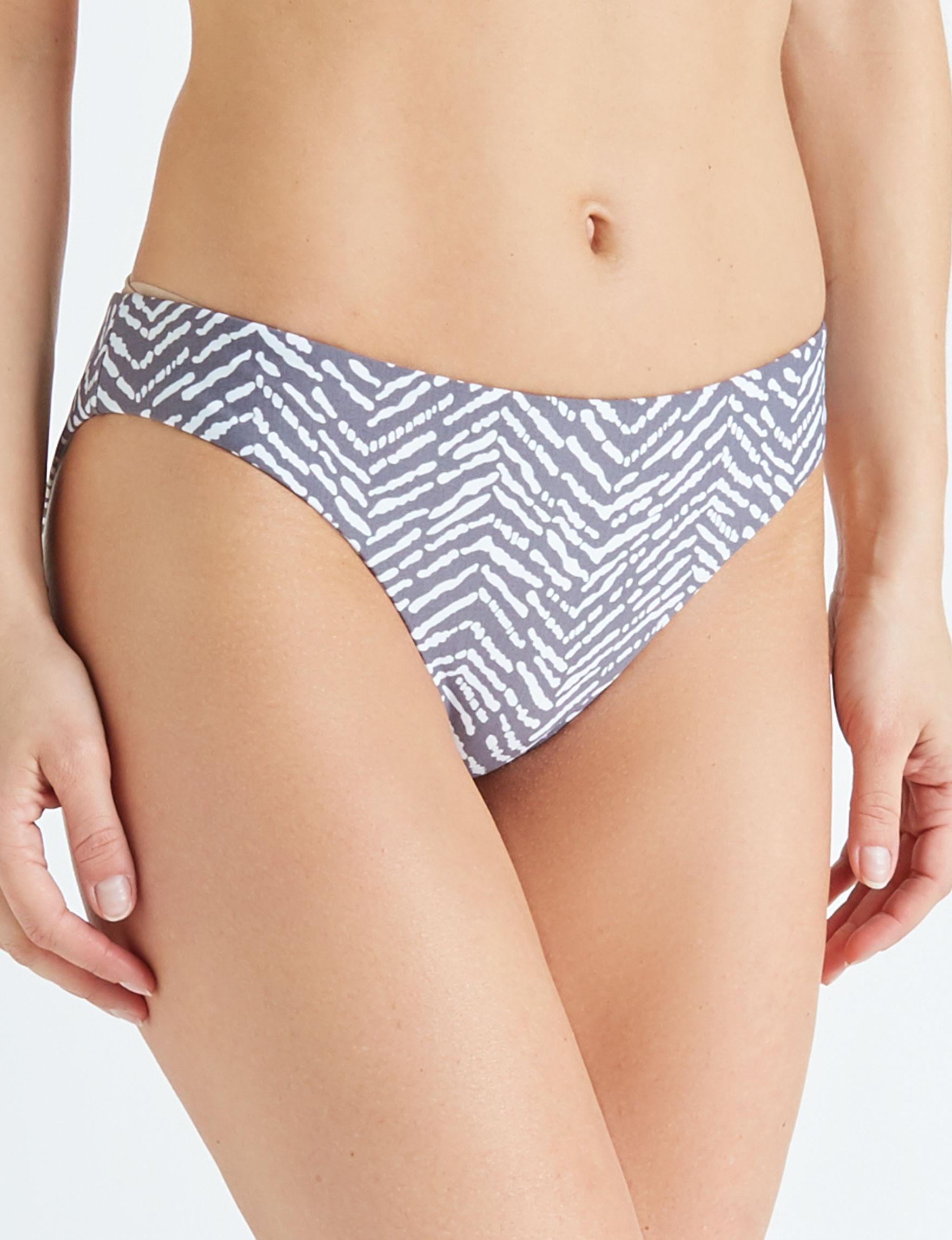 Polka Dot Grey / White Swimsuit Bottoms Hipster