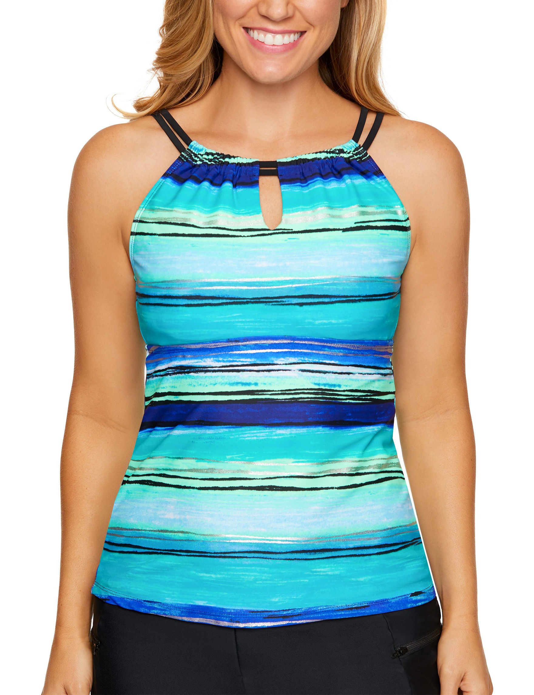 Beach Diva Turquoise Swimsuit Tops Tankini