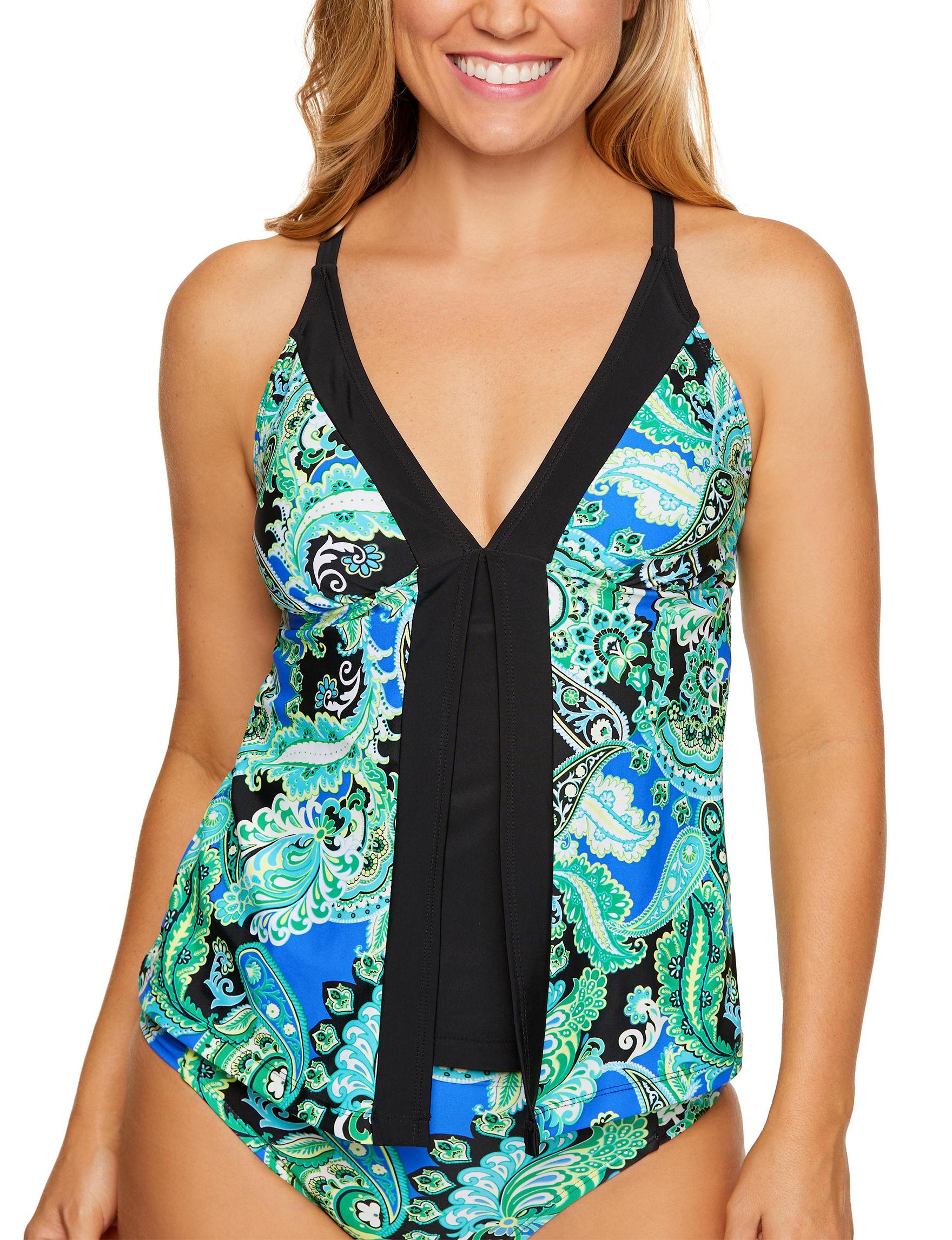 Beach Diva Black / Green Swimsuit Tops Tankini