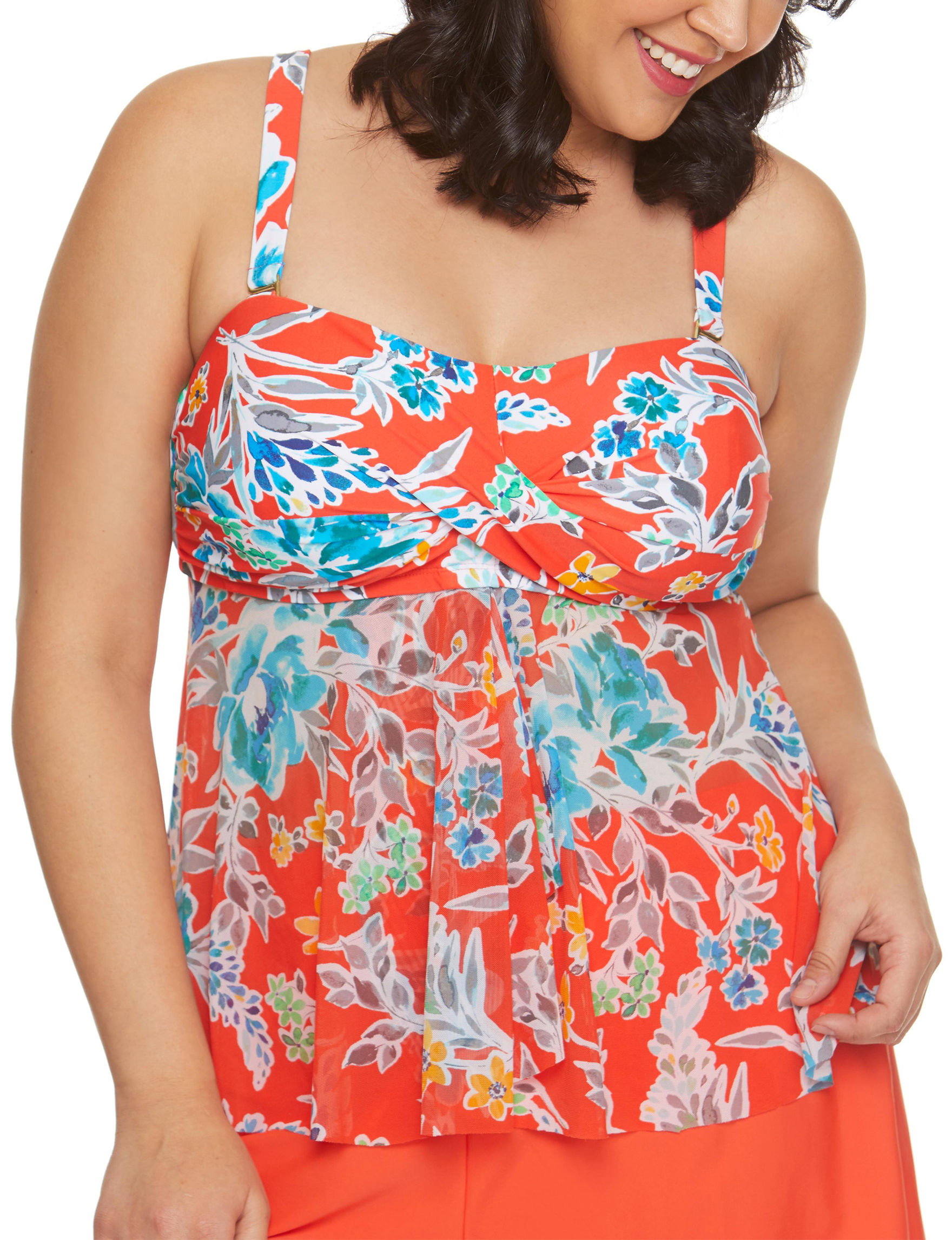 Beach Diva Orange Swimsuit Tops Bandeau Tankini