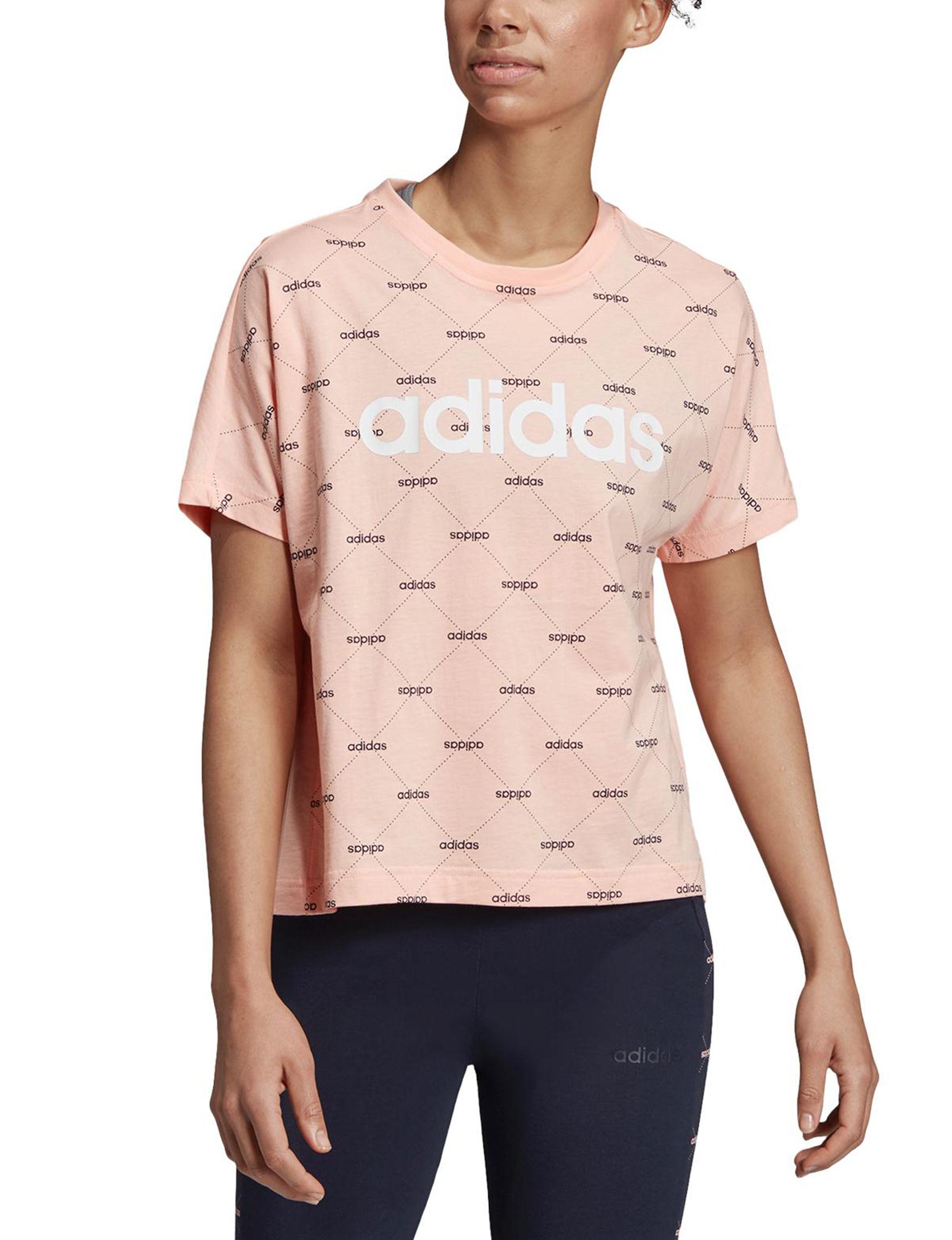 Adidas Glow Pink / Black Tees & Tanks