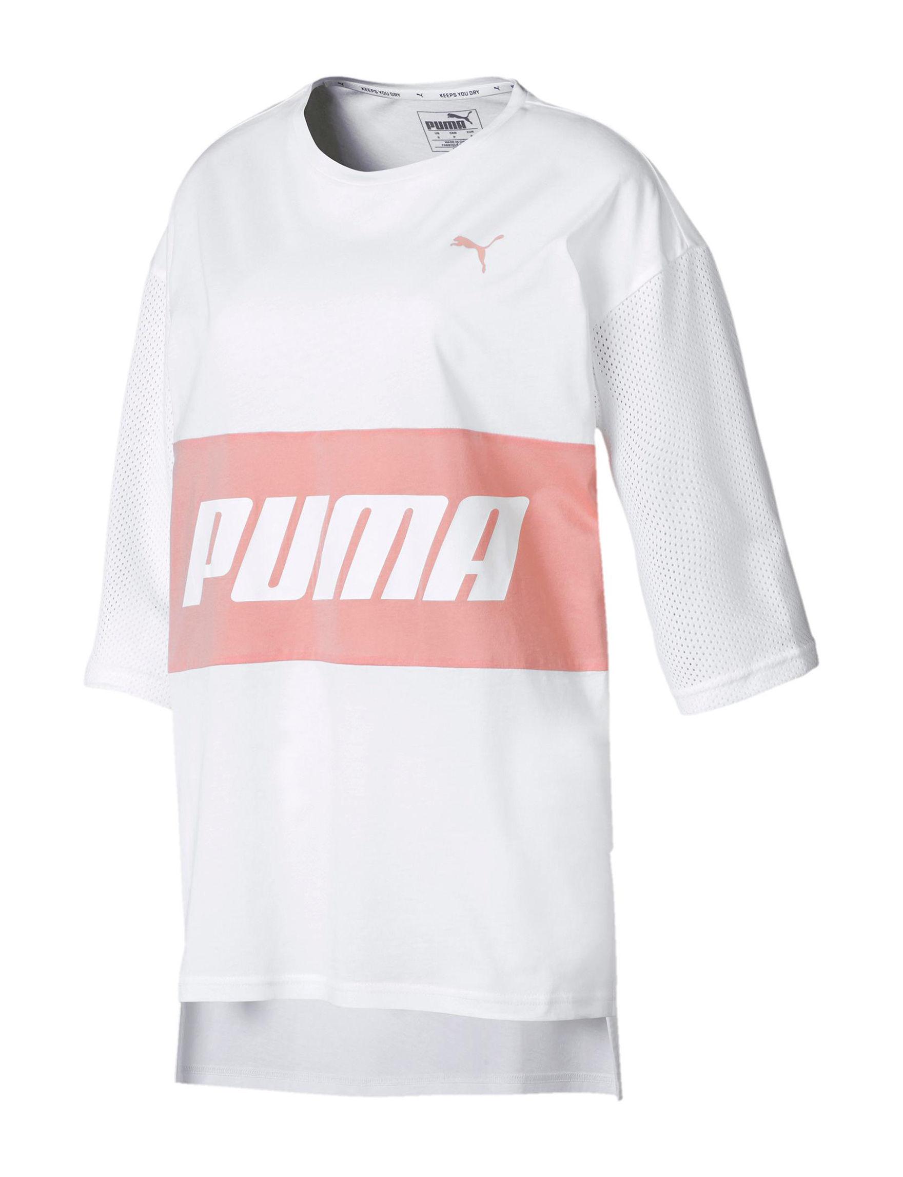 Puma White / Pink Tees & Tanks
