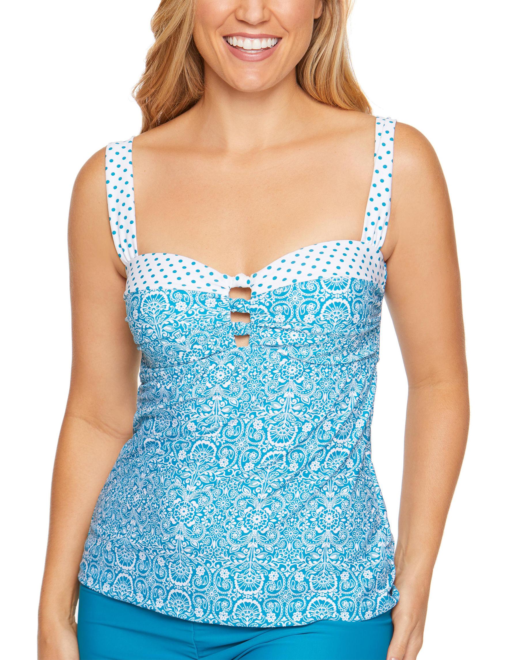 Aqua Couture Blue Swimsuit Tops Bandeau Tankini