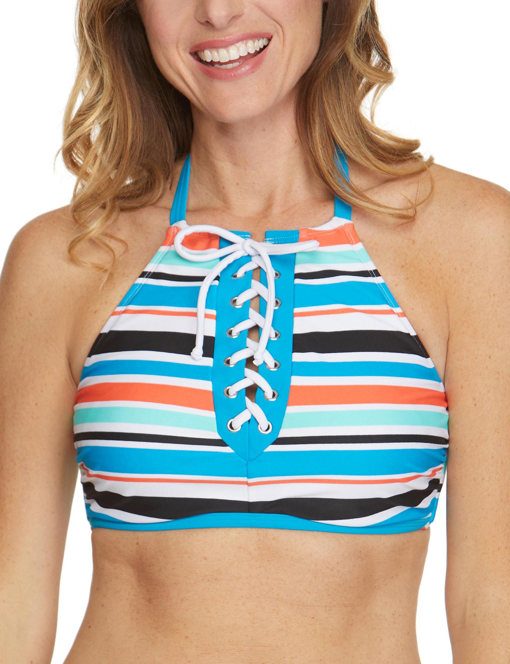Beach Diva Blue Swimsuit Tops Bralette High Neck