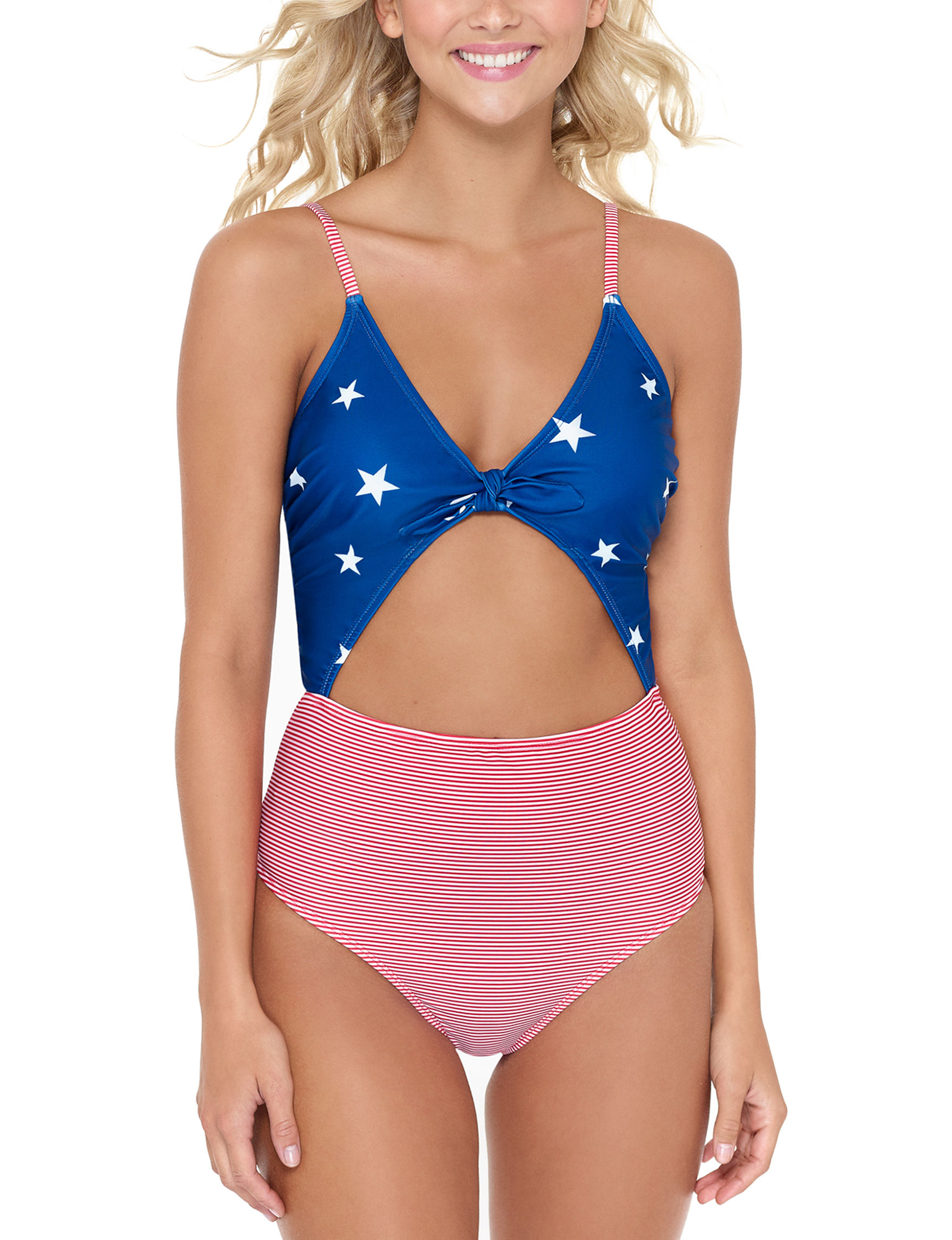 Hot Water Blue / White / Red One-piece Swimsuits
