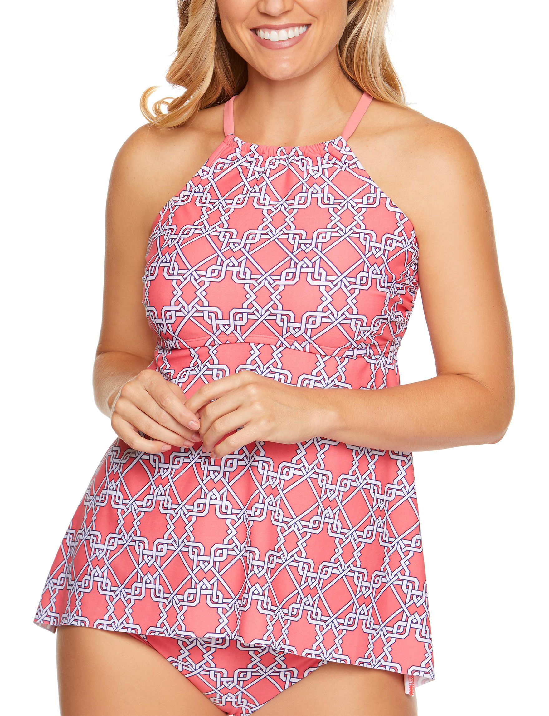 Aqua Couture Coral Swimsuit Tops High Neck Tankini