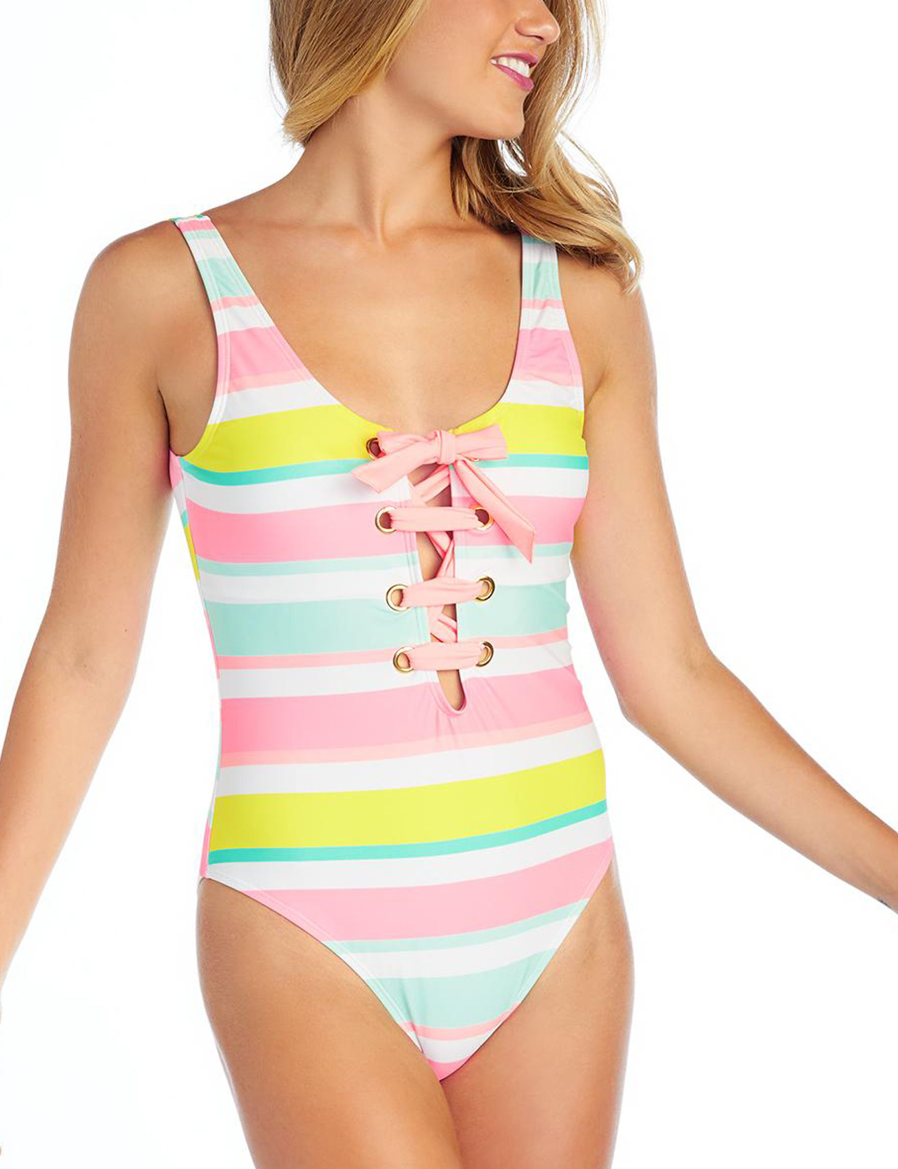 Island Soul Pink Multi One-piece Swimsuits