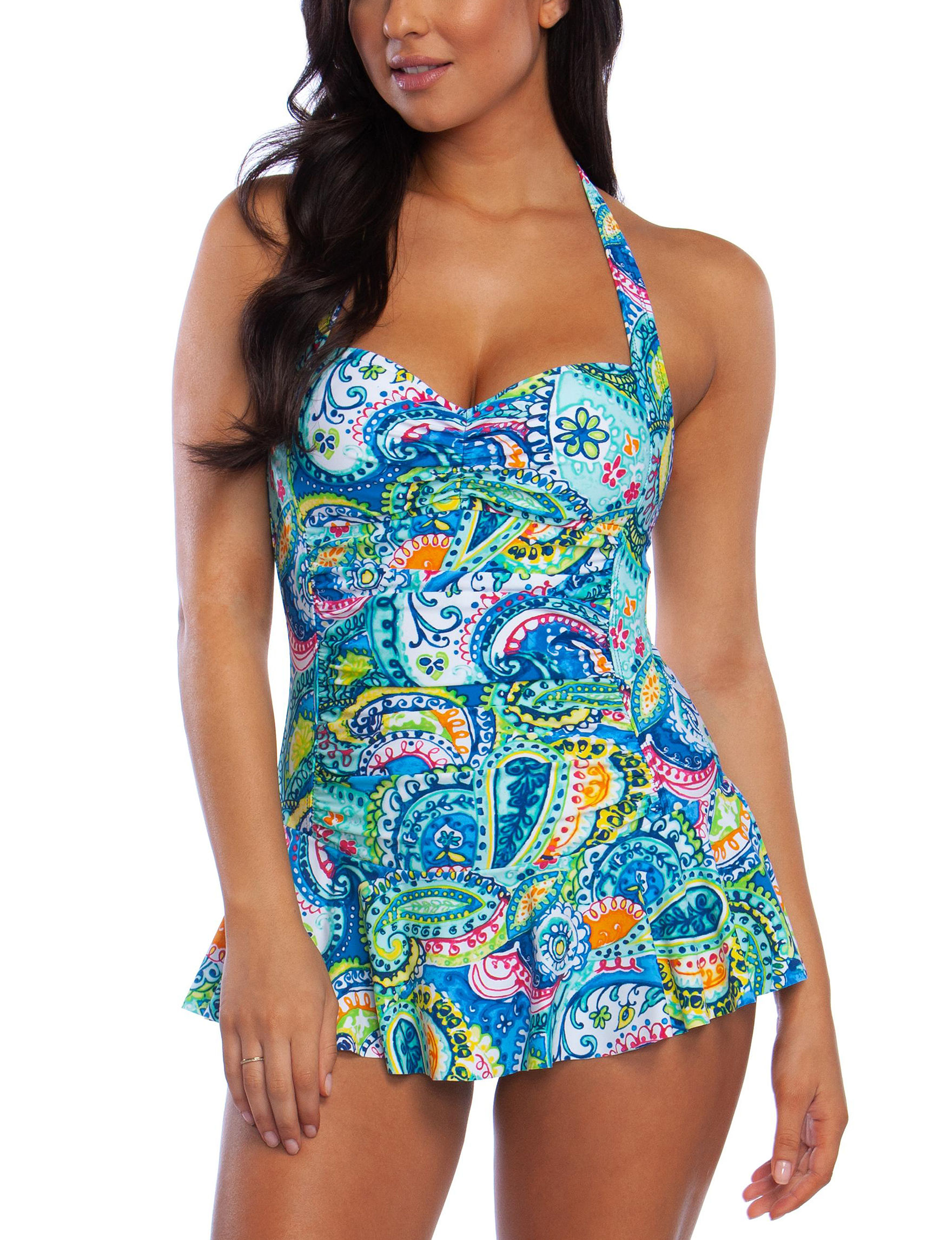 Chaps Blue Paisley One-piece Swimsuits