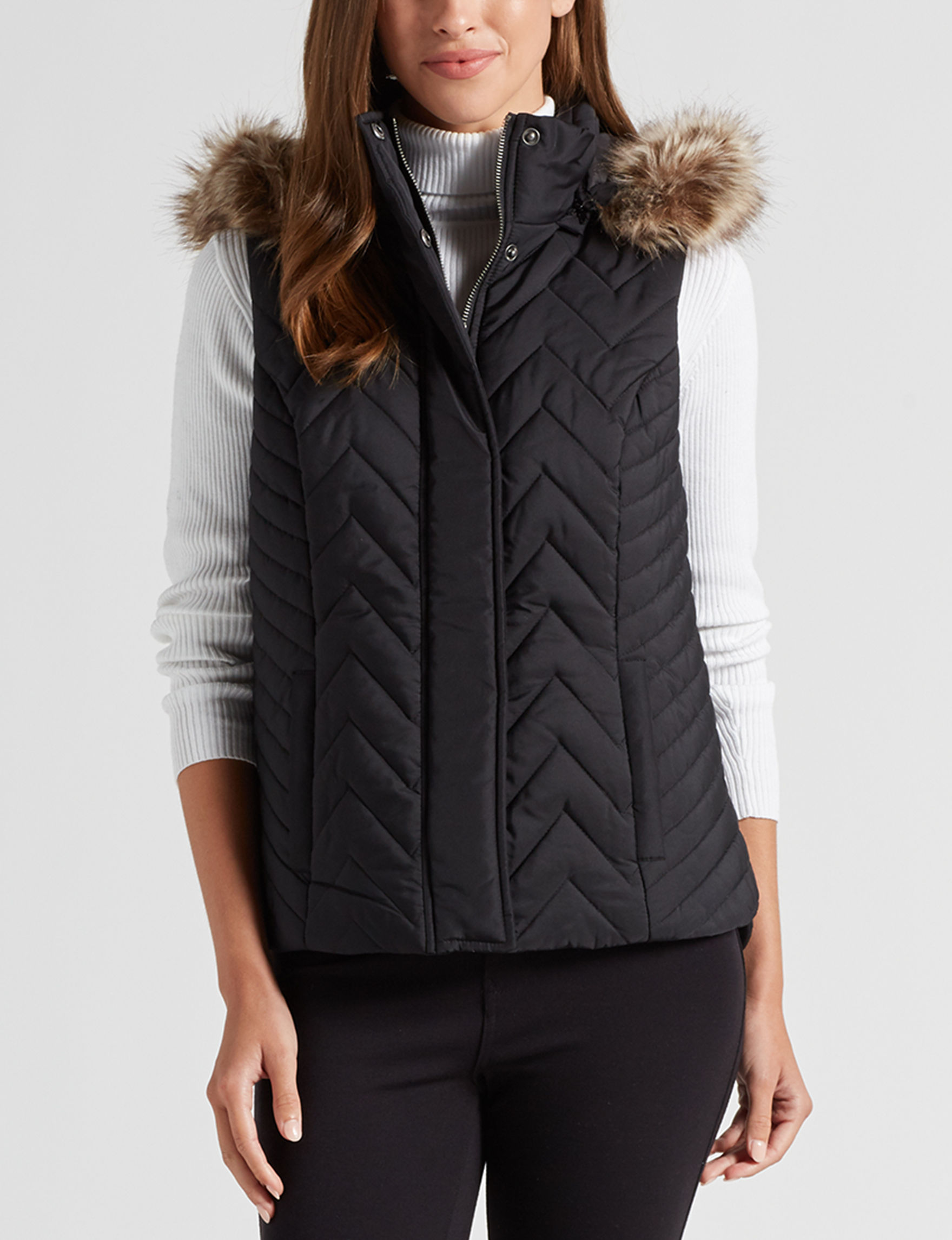 Sebby Collection Black Puffer & Quilted Jackets