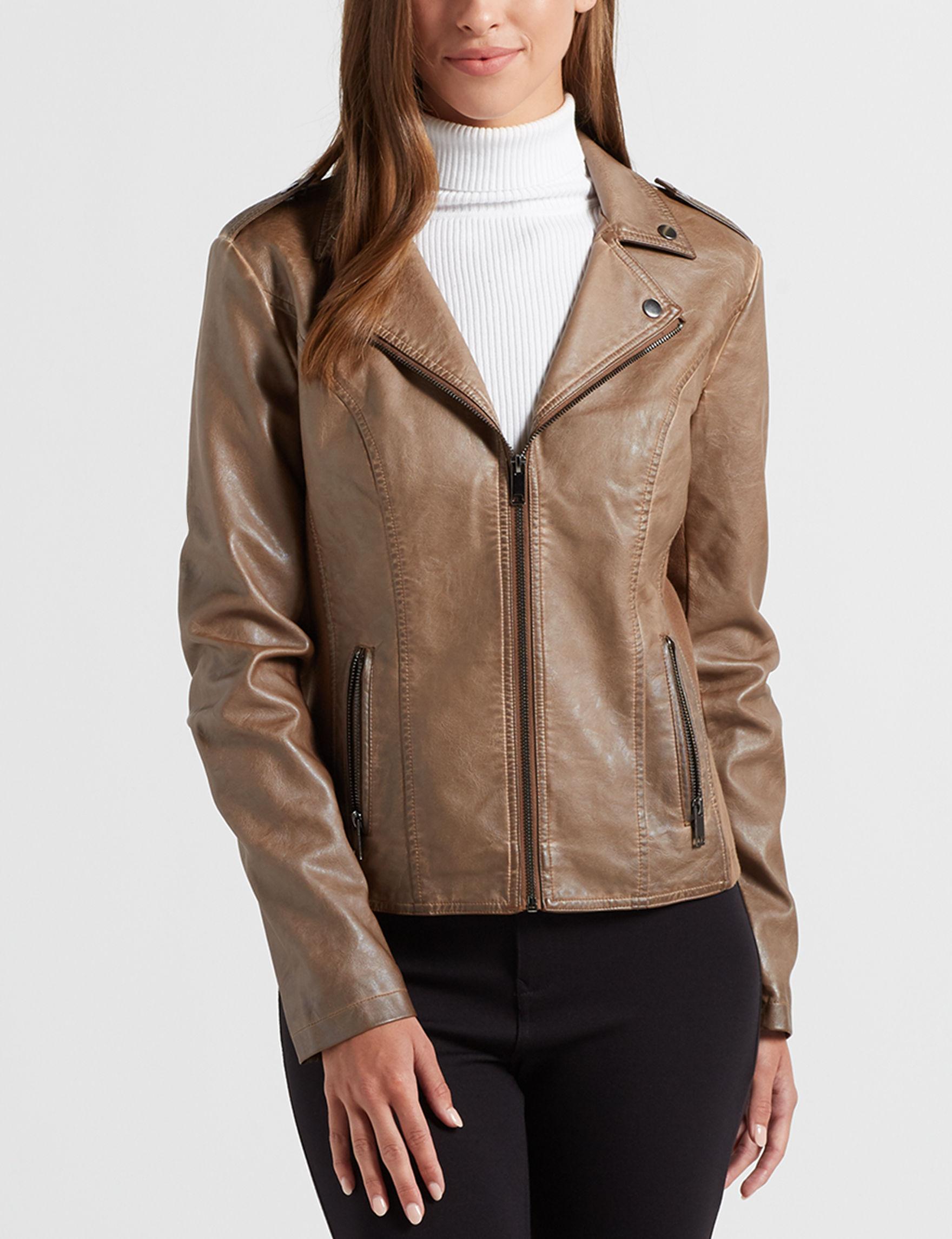 Sebby Collection Walnut Bomber & Moto Jackets