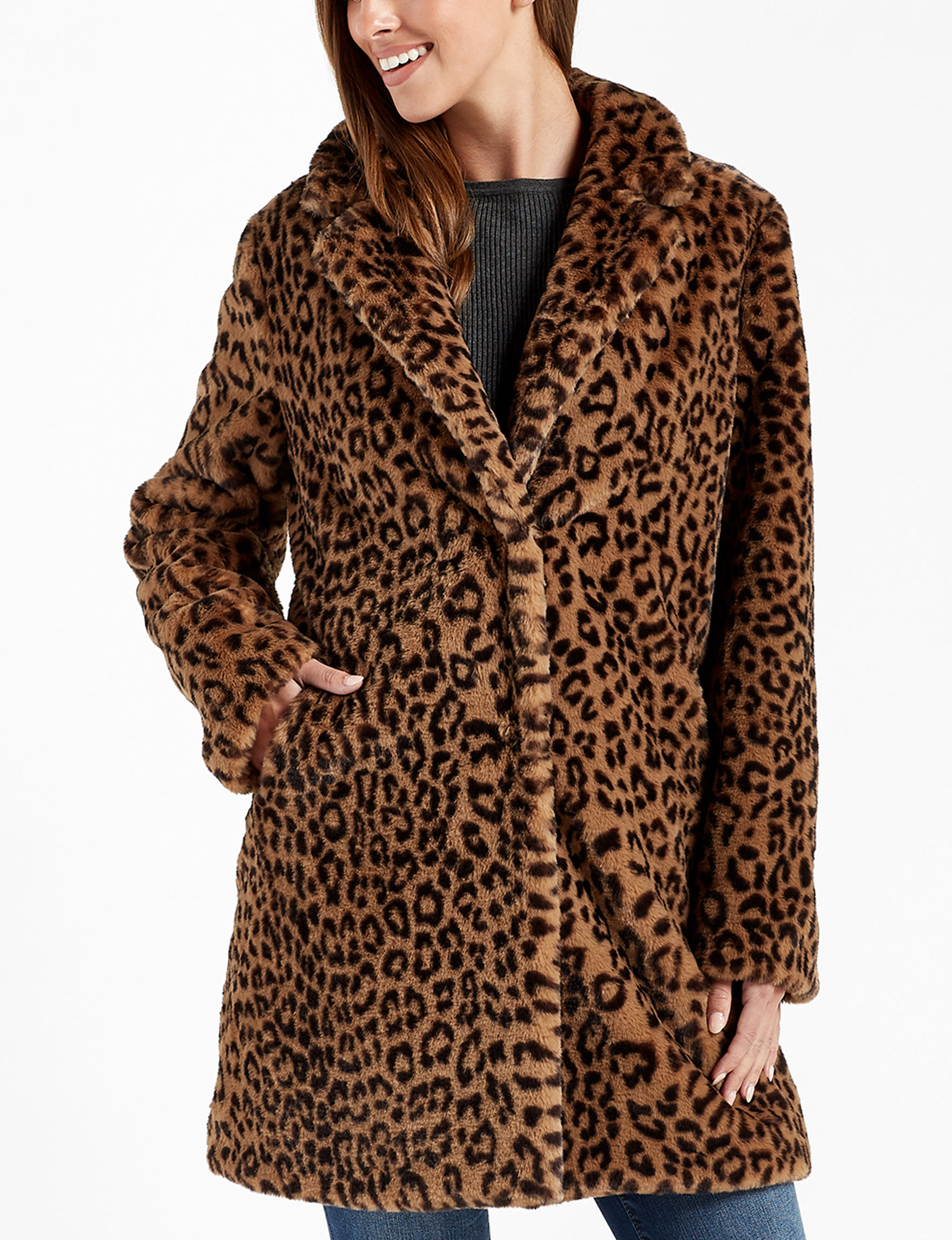 Sebby Collection Leopard Peacoats & Overcoats