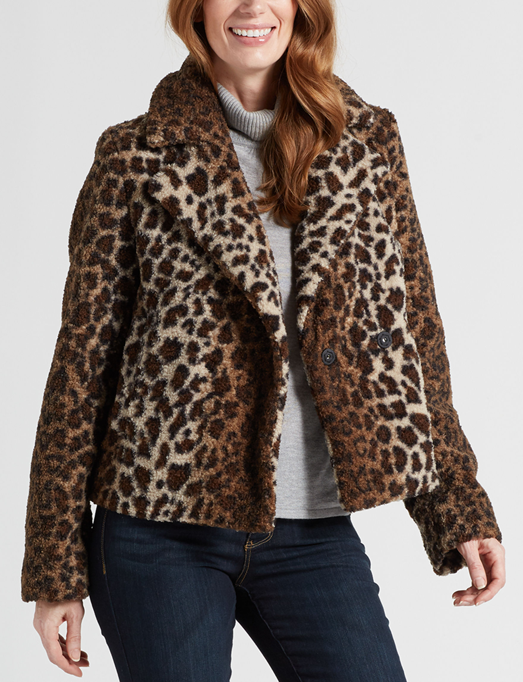 Maralyn & Me Brown Leopard Peacoats & Overcoats