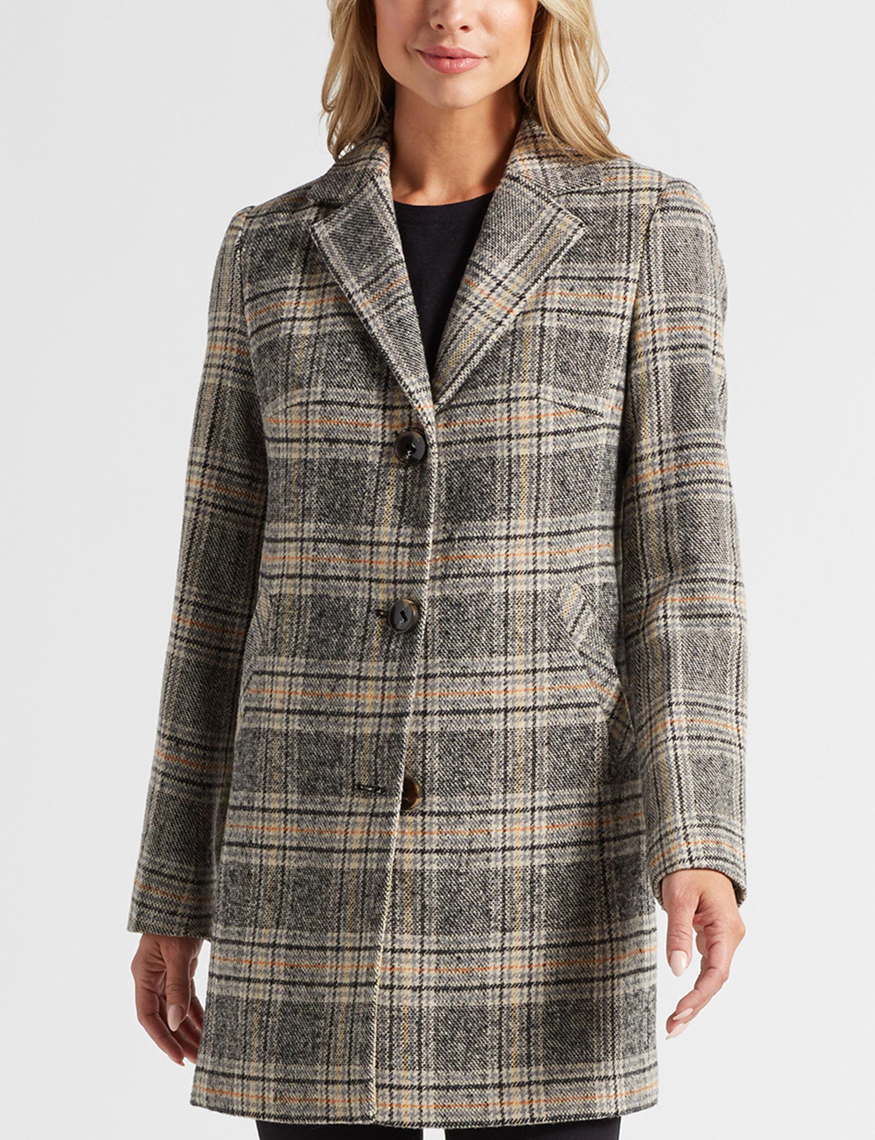 Below Zero Grey Plaid Peacoats & Overcoats