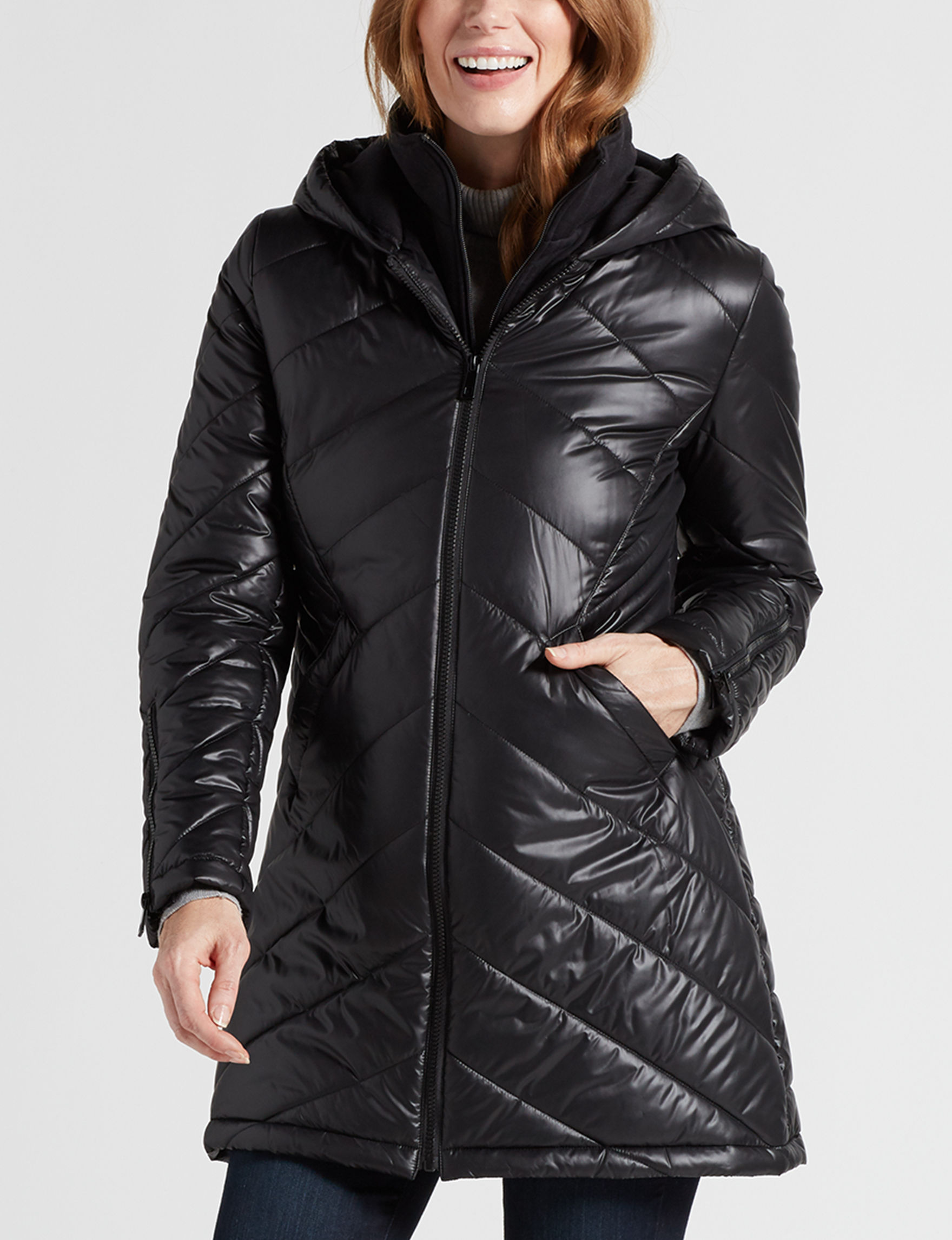 Maralyn & Me Black Puffer & Quilted Jackets