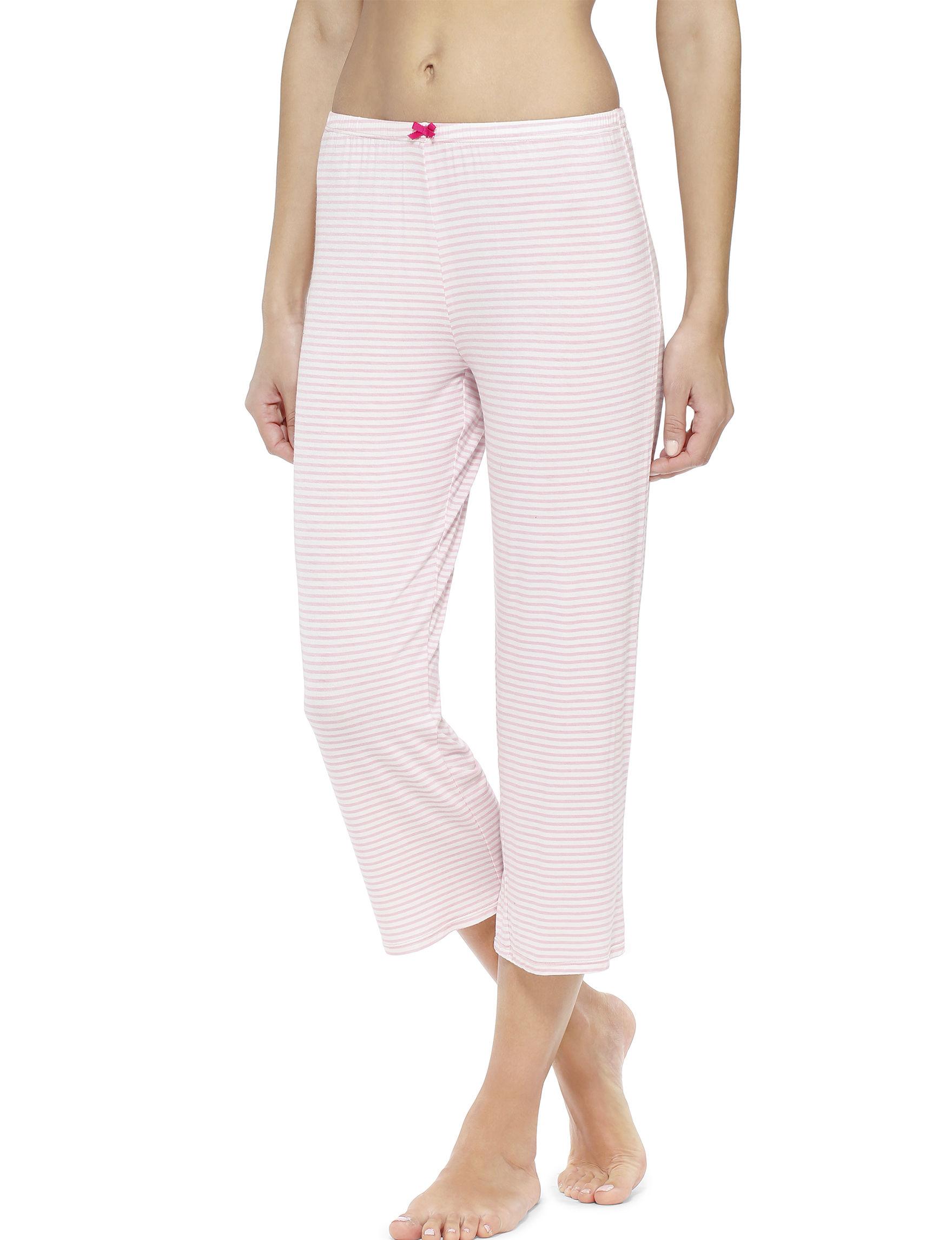 Ellen Tracy Pink / White Pajama Bottoms