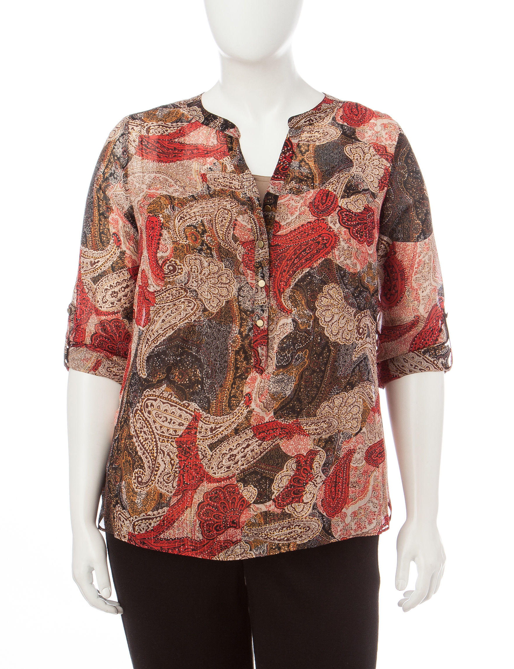 Rebecca Malone Tan Multi Shirts & Blouses
