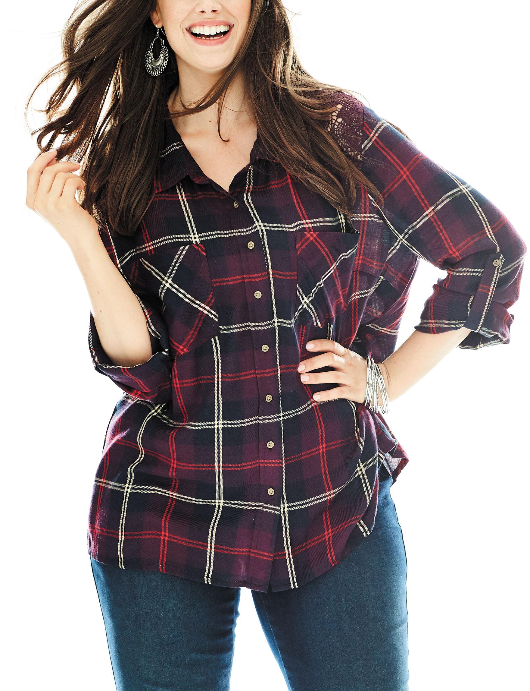 Hannah Burgundy Shirts & Blouses
