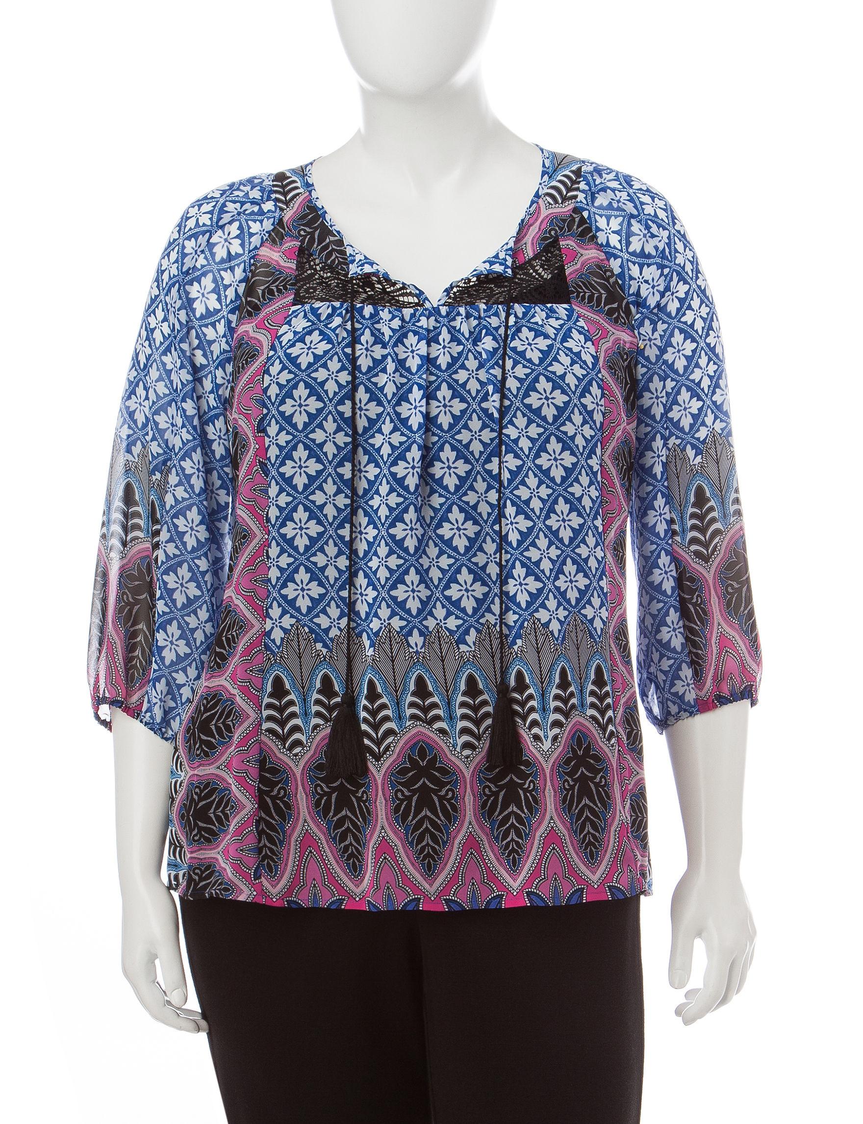 Valerie Stevens Blue Multi Shirts & Blouses