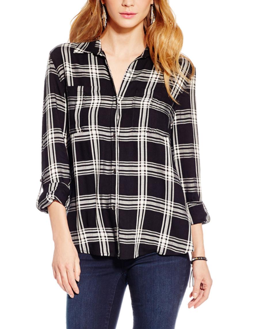 Jessica Simpson Black Plaid Casual Button Down Shirts