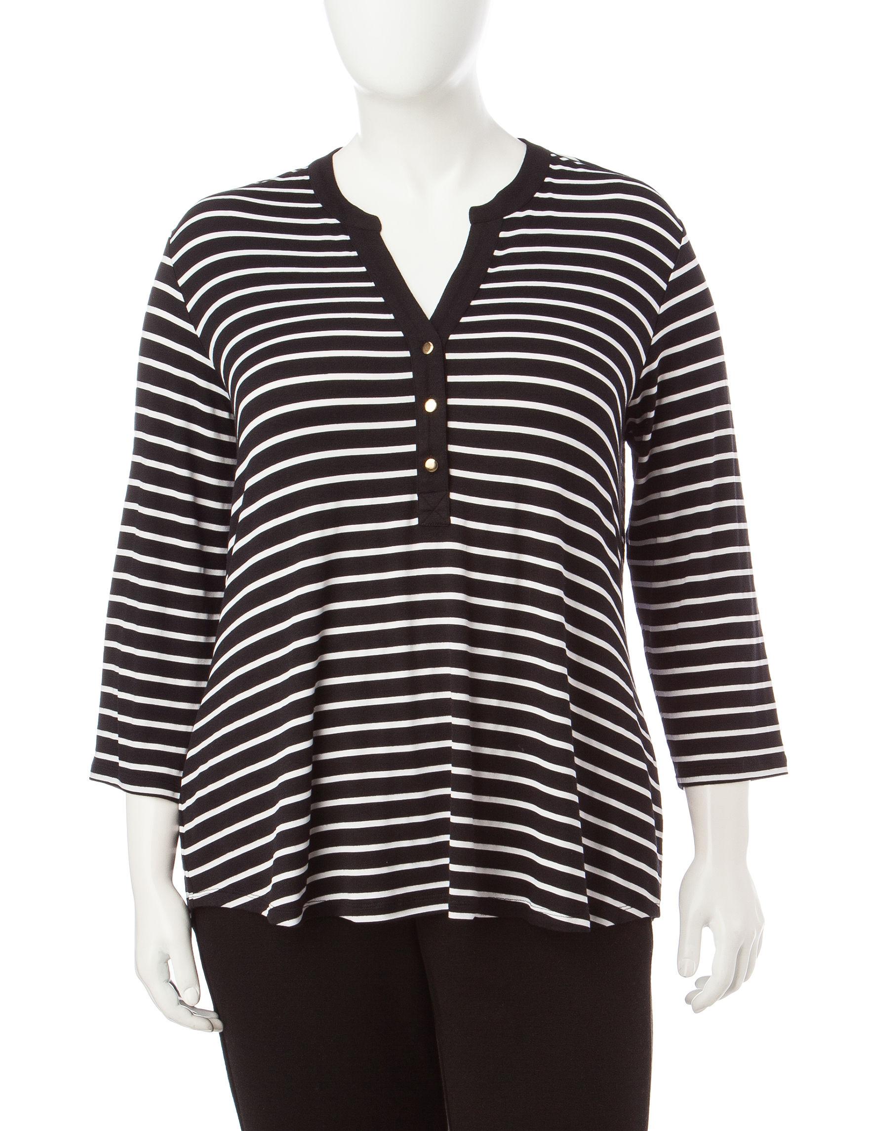 fc1c730c141 Rebecca Malone Plus-size Striped Print Knit Top
