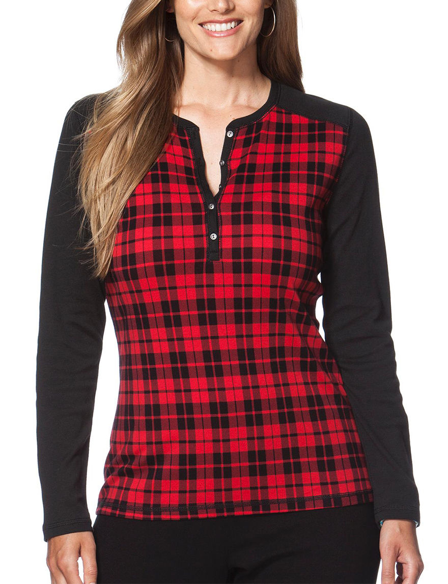 Chaps Red / Black Shirts & Blouses