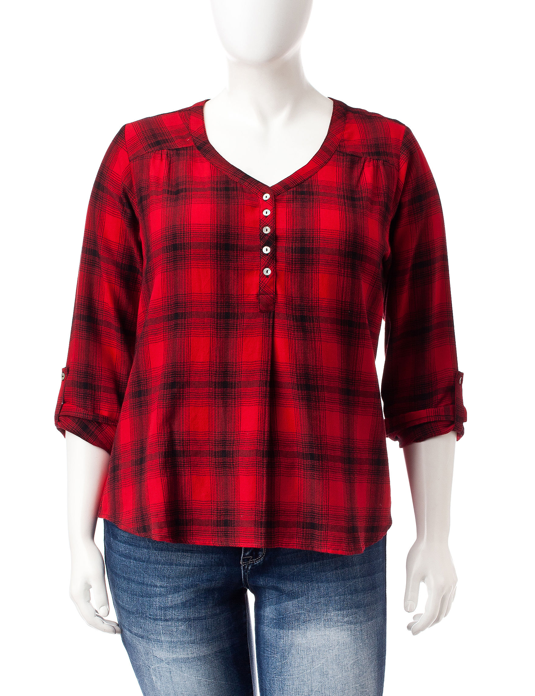 Rebecca Malone Red / Black Shirts & Blouses