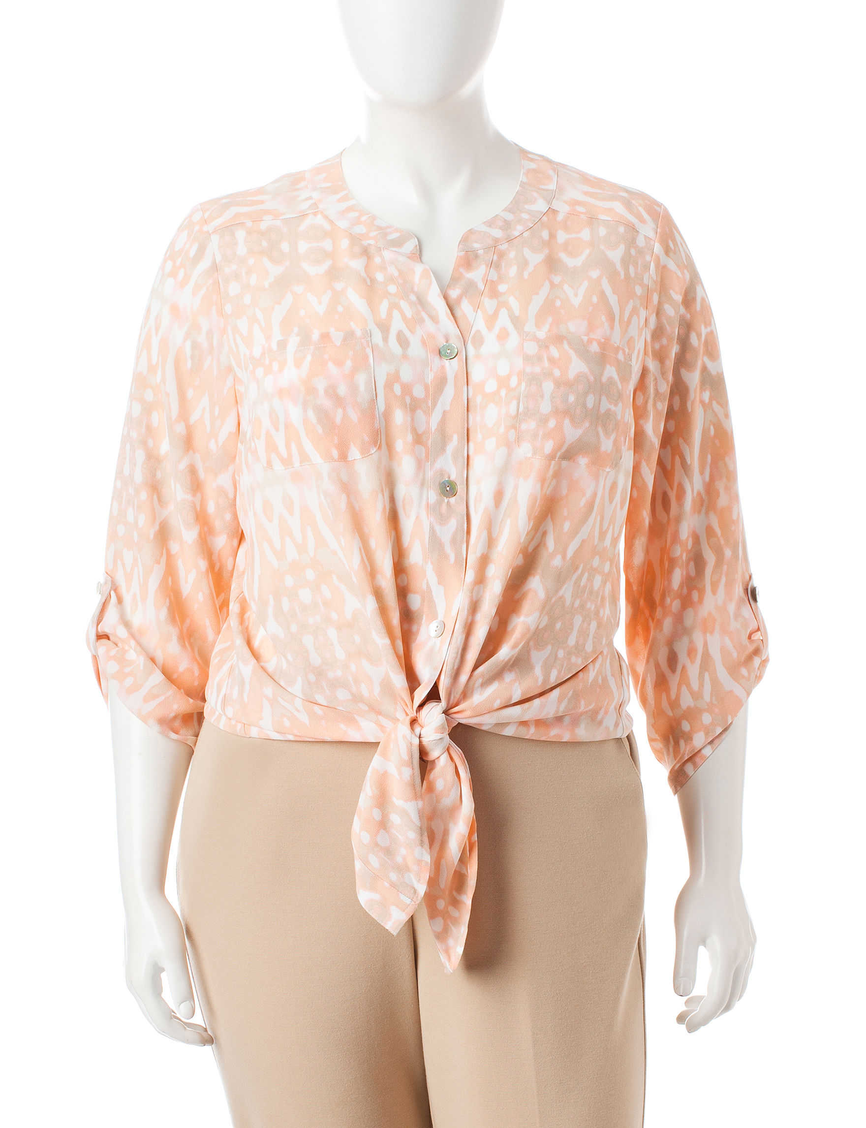 Ruby Road Orange Multi Shirts & Blouses