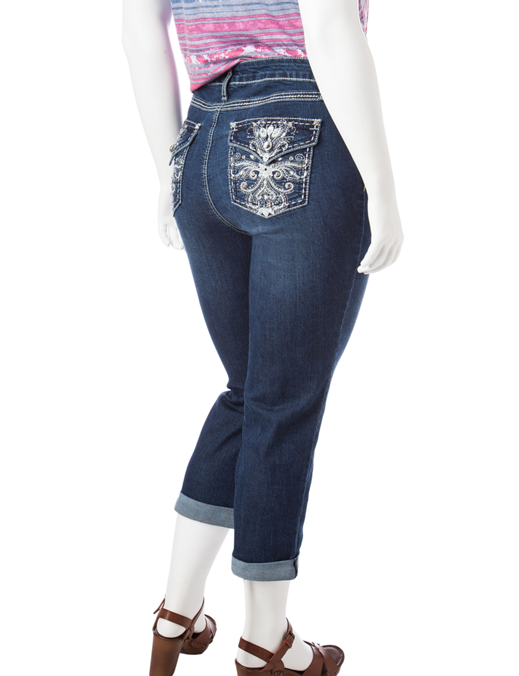 earl jean plus-size cross bling capri jeans | stage stores