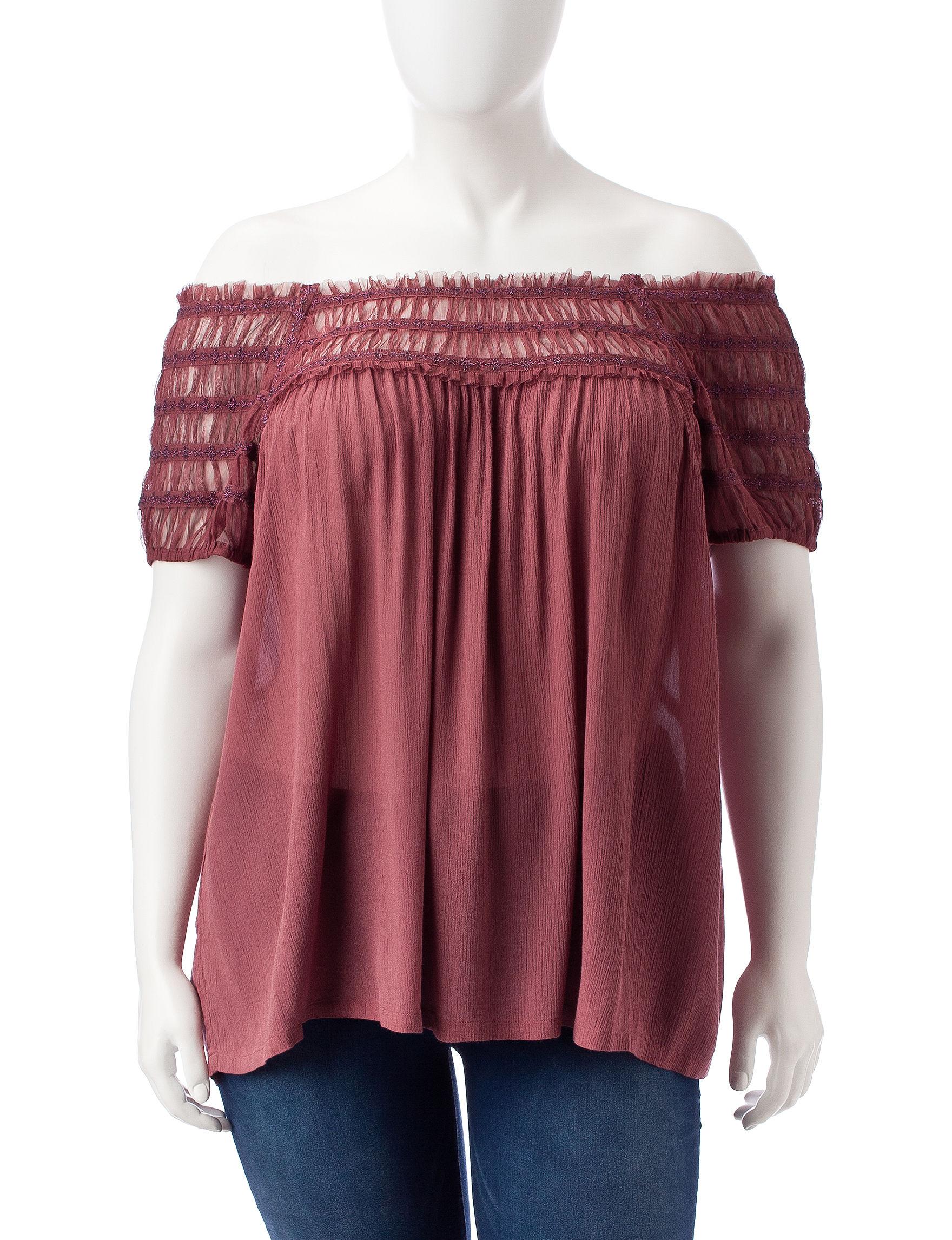 Vintage America Blues Dark Red Shirts & Blouses