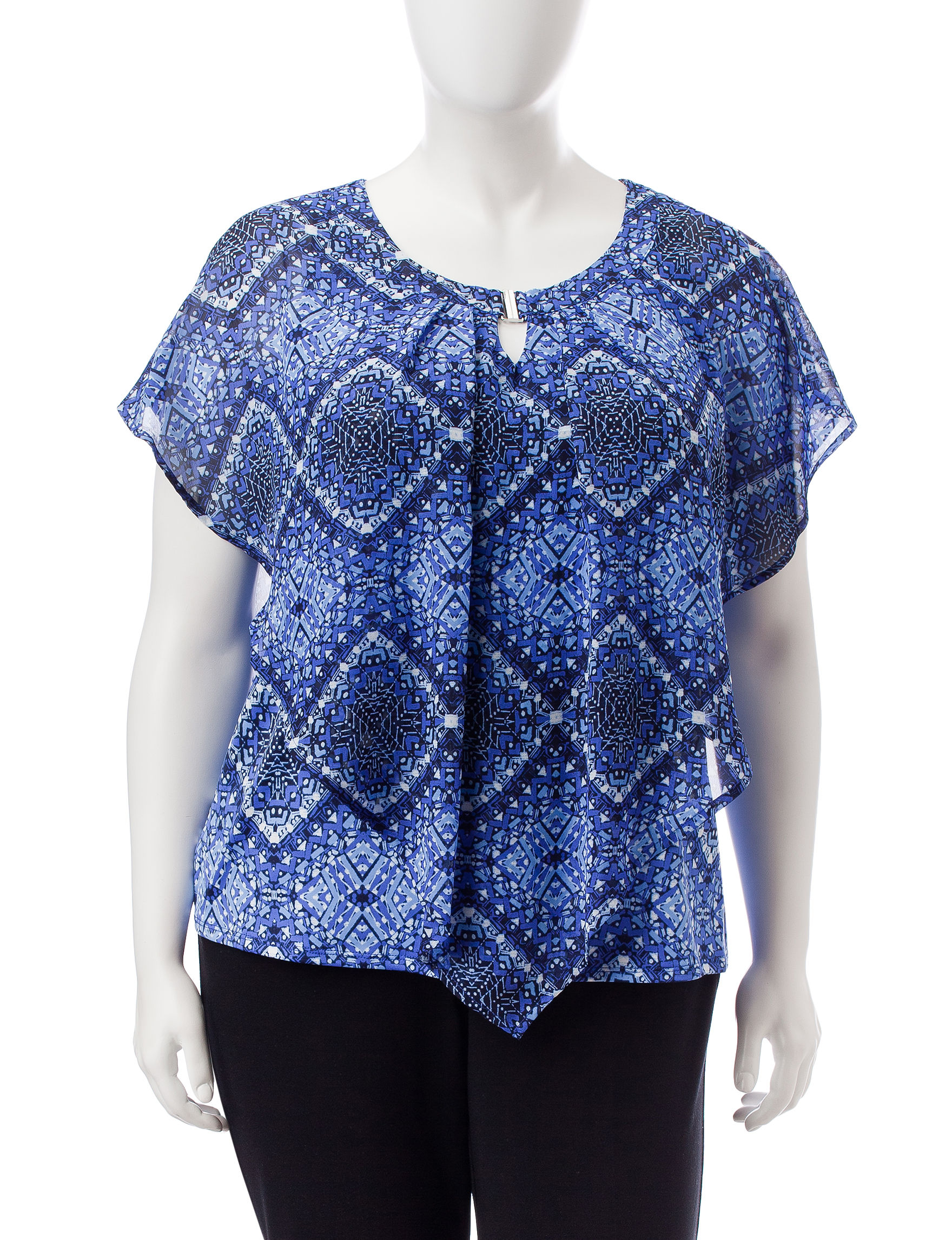 NY Collection Navy Shirts & Blouses