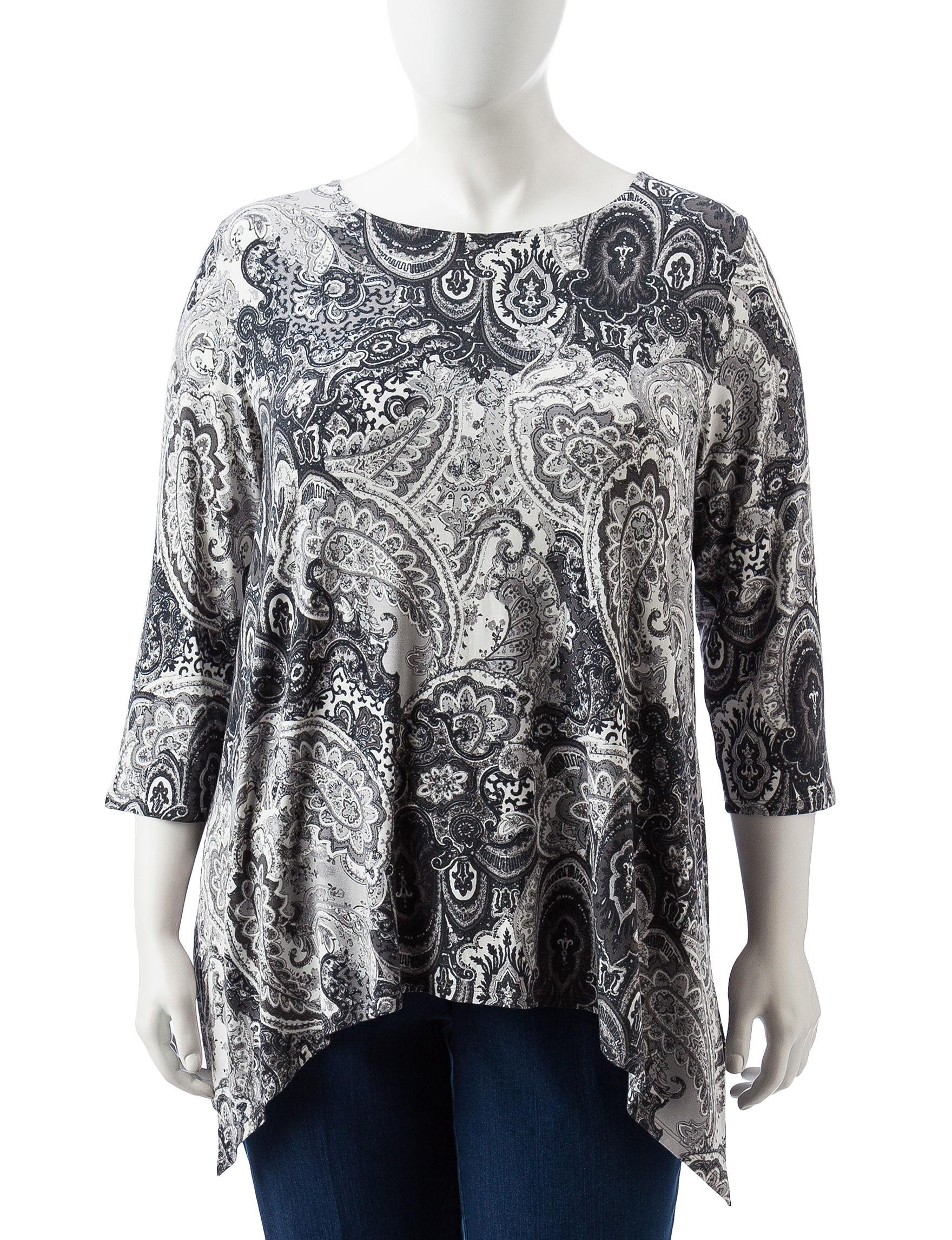 Ruby Road Grey / White Shirts & Blouses
