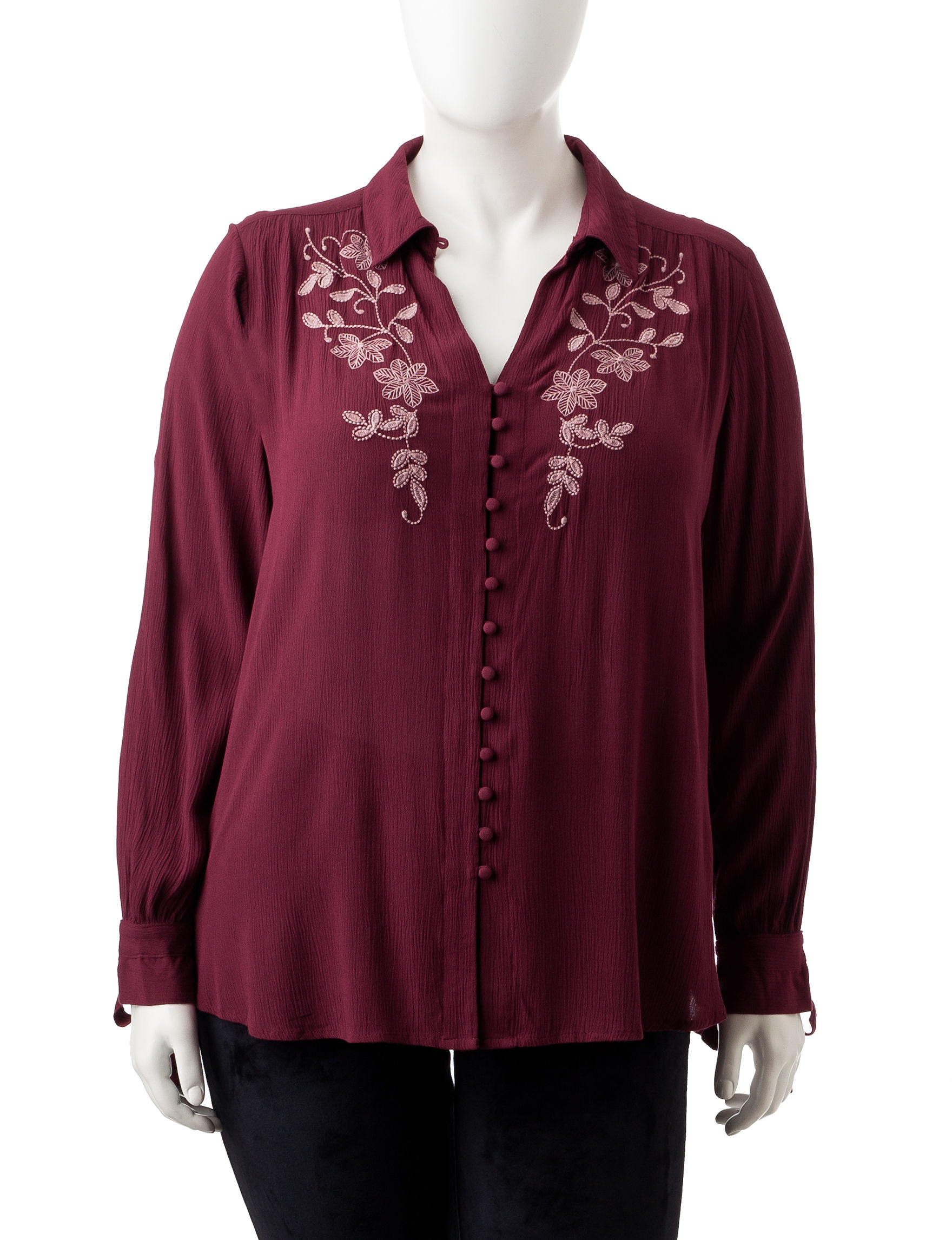 Vintage America Blues Burgundy Shirts & Blouses
