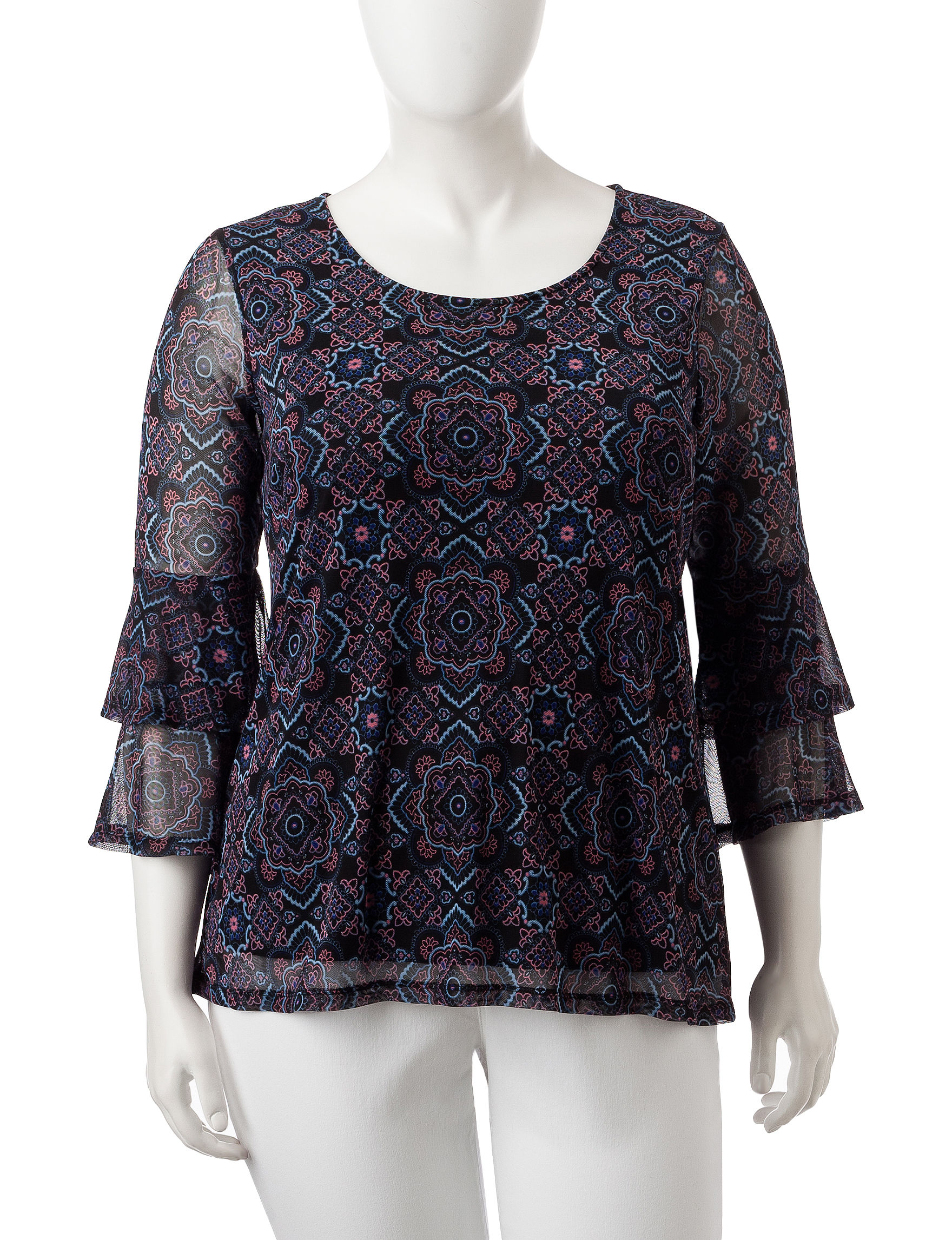 Signature Studio Black Multi Shirts & Blouses