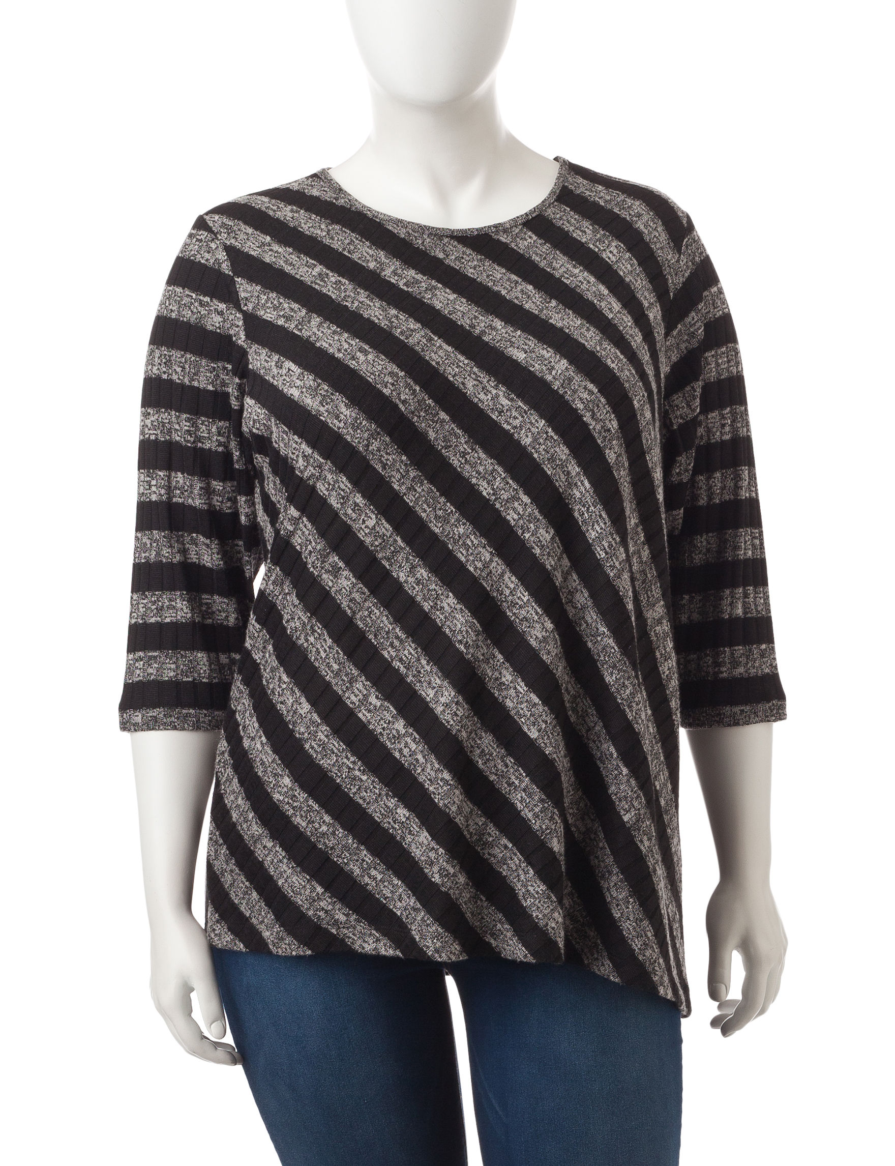 Cathy Daniels Black/Grey Pull-overs Shirts & Blouses