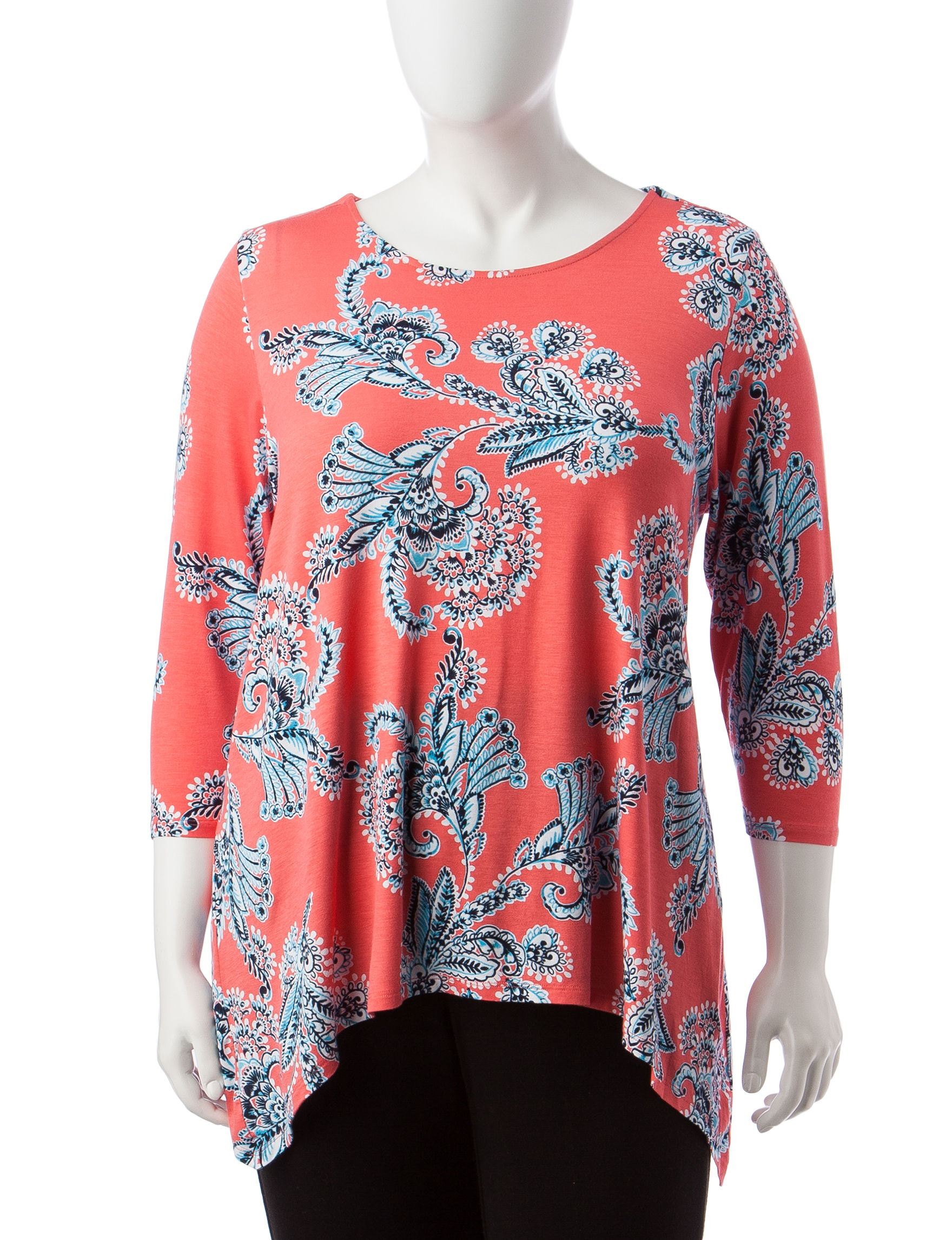 Ruby Road Coral Multi Shirts & Blouses