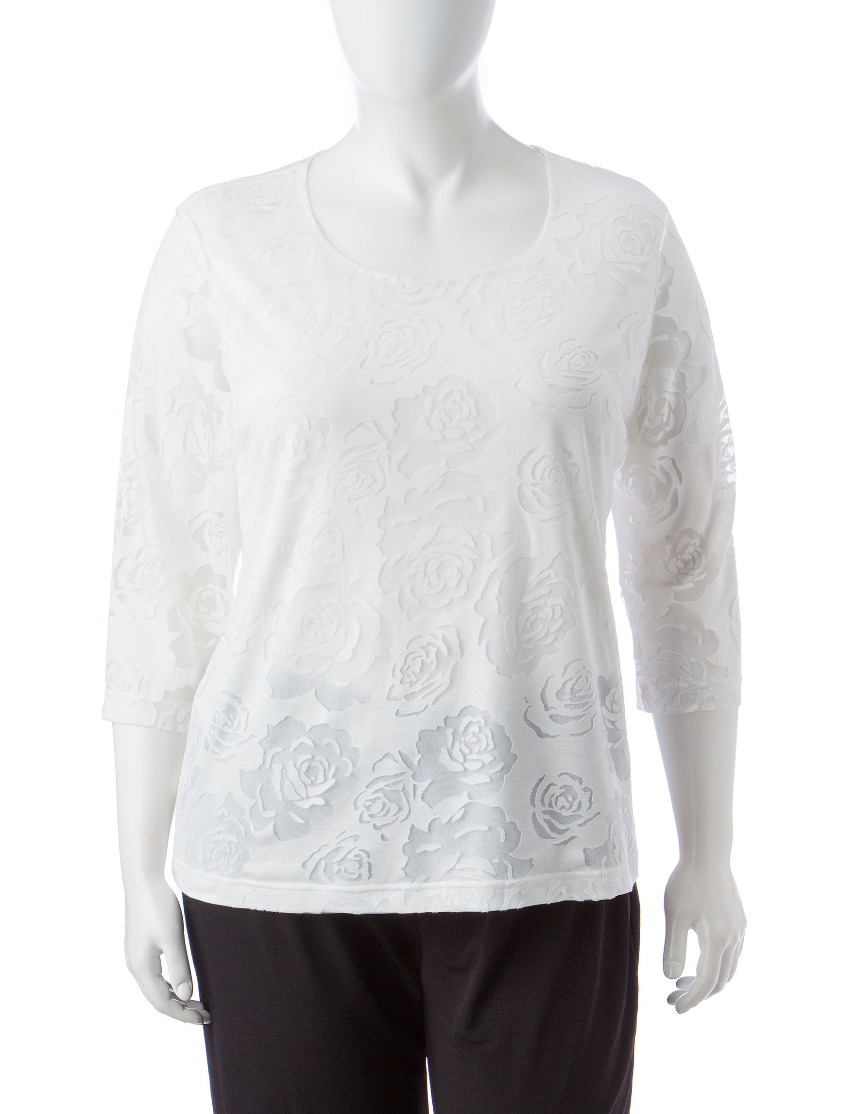 78d2386cd48 Rebecca Malone Plus-size Floral Burnout Knit Top